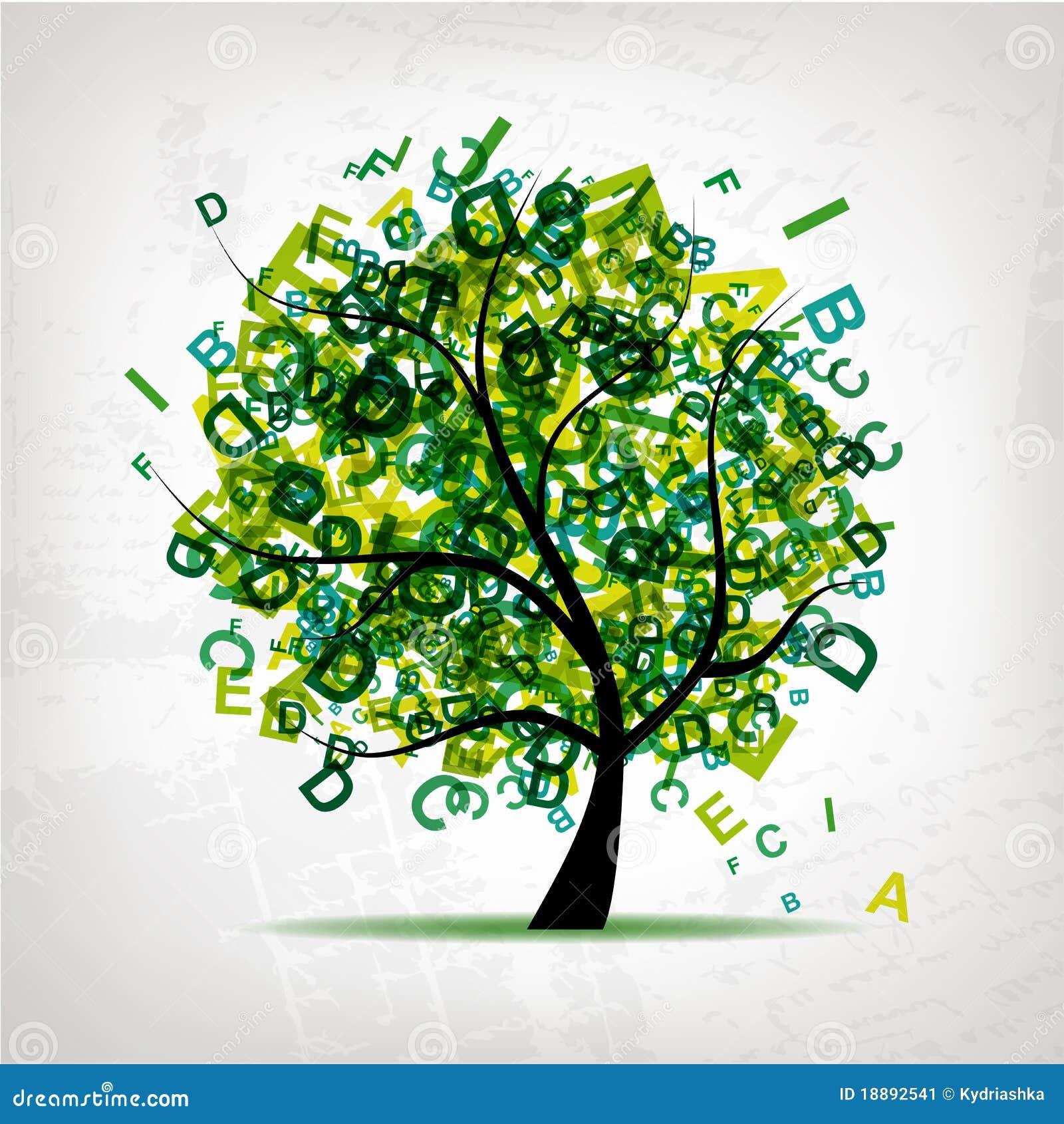 L 39 arbre d 39 art avec des lettres verdissent pour votre conception illustration de vecteur image - Arbre africain en 7 lettres ...
