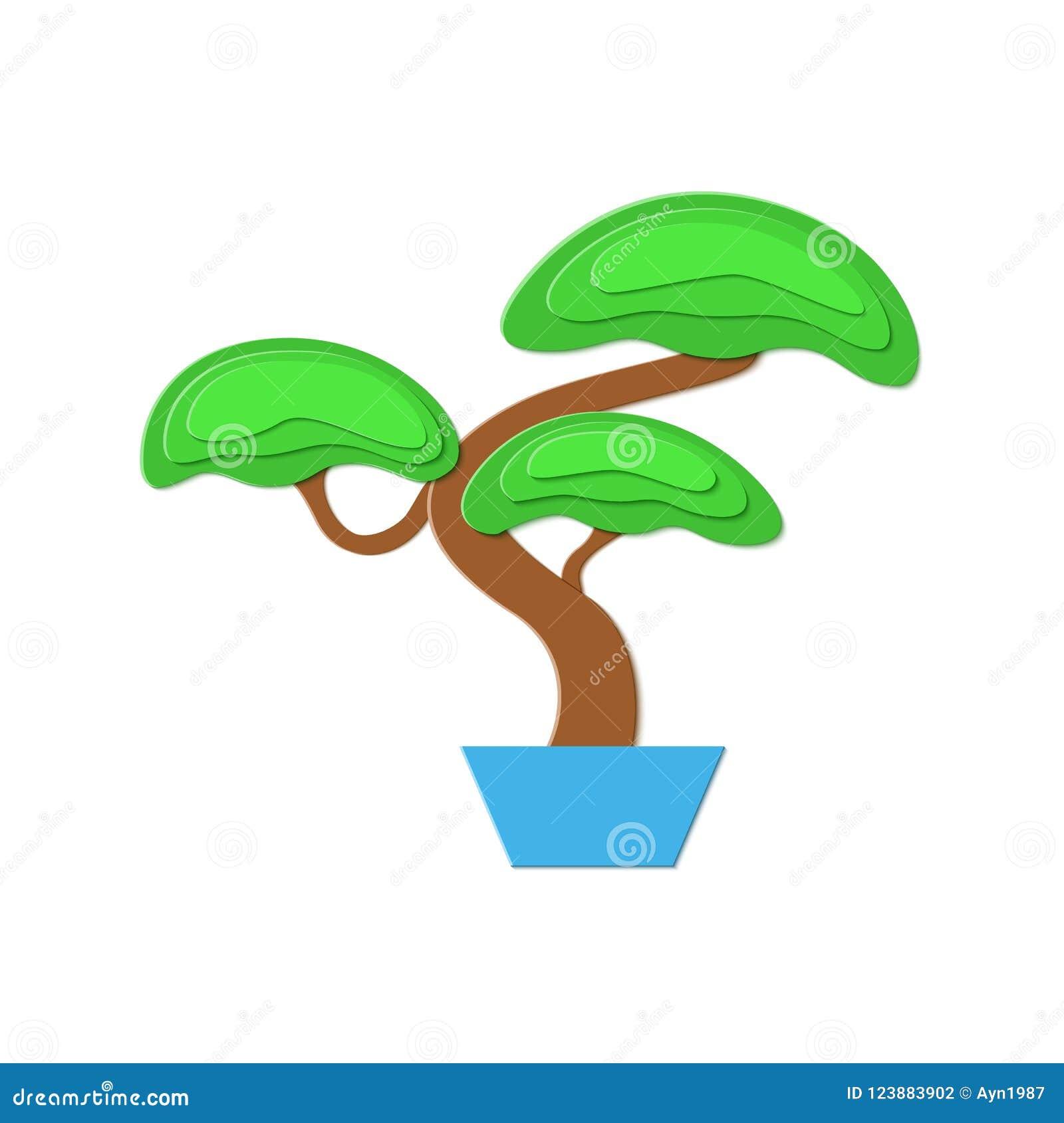 Arbre Fruitier D Intérieur l'arbre de bonsaïs en papier a coupé le style d'isolement
