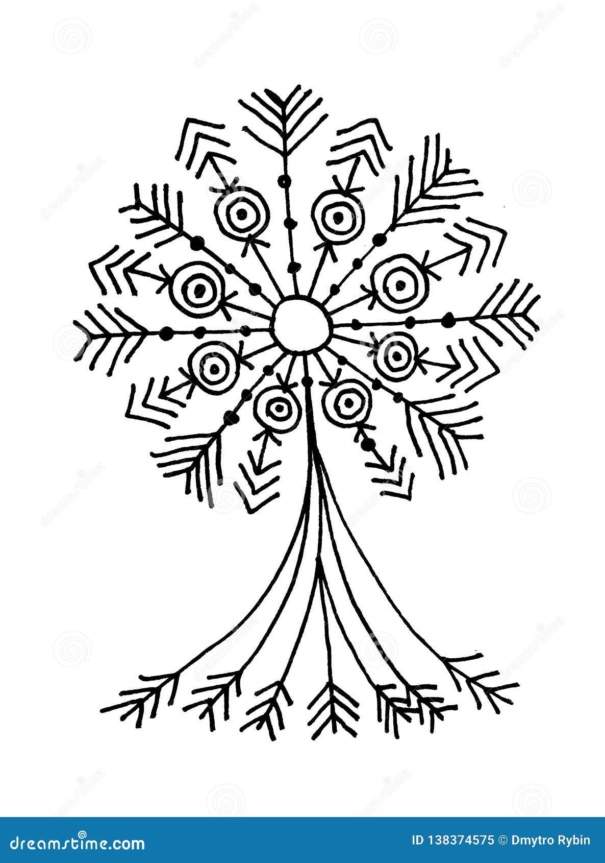 L Arbre De La Vie Dessin Noir Et Blanc Symbolique De Main