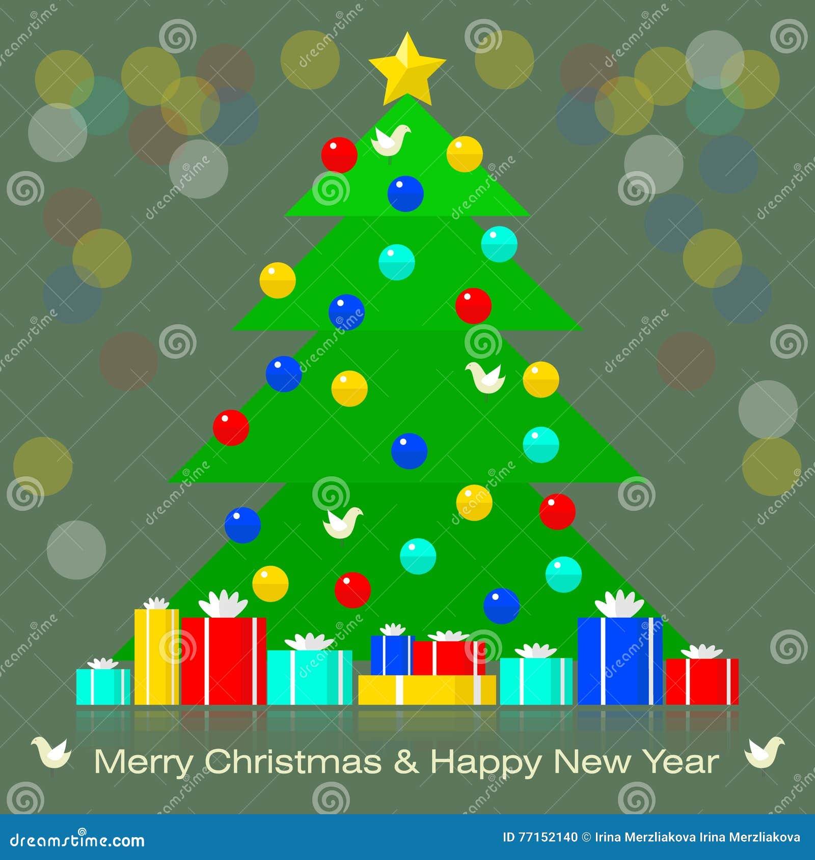 L arbre de Noël avec des décorations et des cadeaux a brouillé le fond