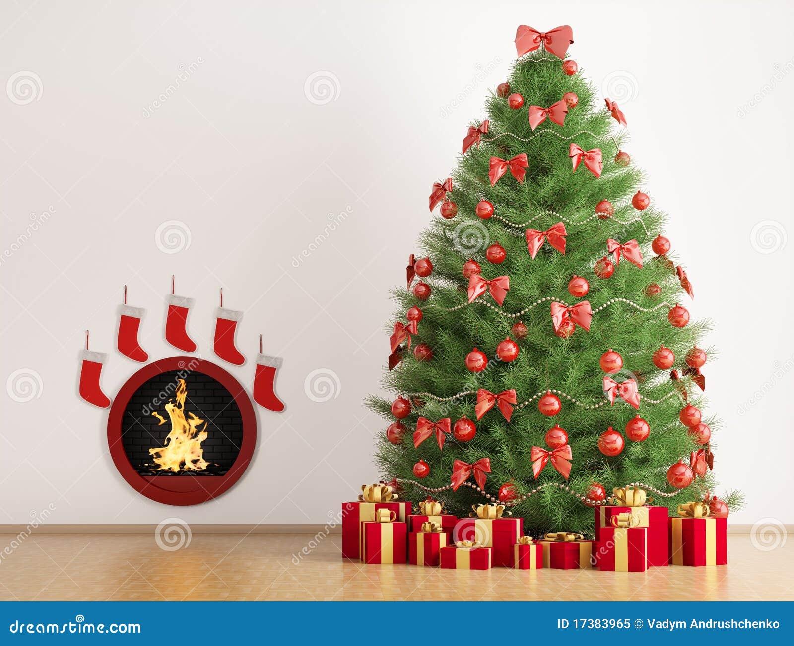 l 39 arbre de sapin de no l et la chemin e 3d rendent photo libre de droits image 17383965. Black Bedroom Furniture Sets. Home Design Ideas