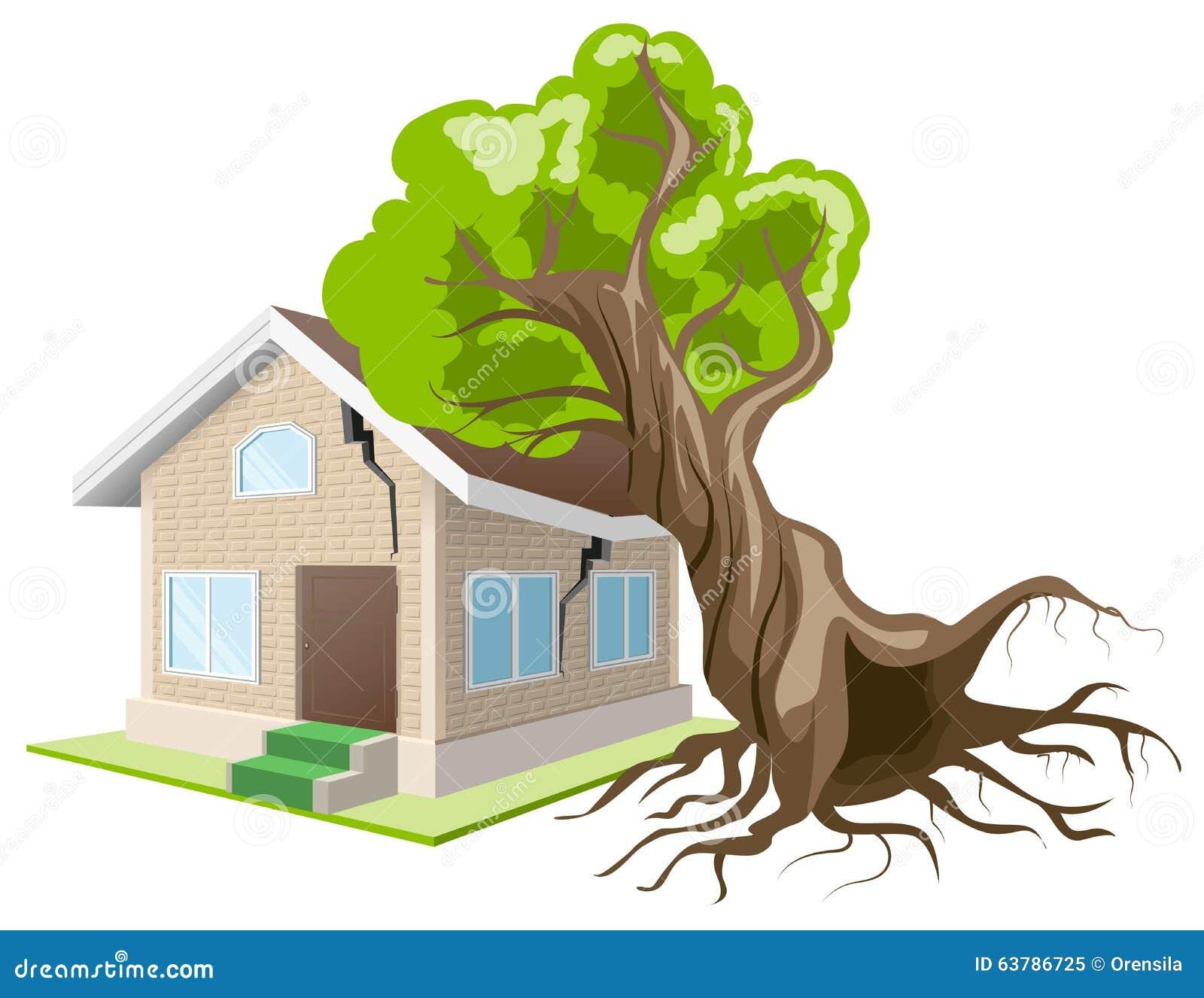 l 39 arbre est tomb sur la maison assurance la maison illustration de vecteur image 63786725. Black Bedroom Furniture Sets. Home Design Ideas