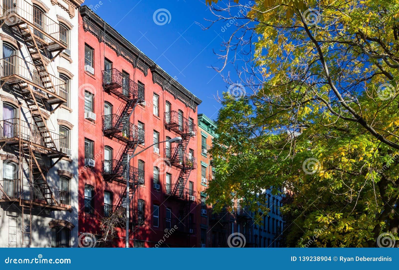 L arbre a rayé la rue avec de vieux immeubles historiques dans le voisinage d East Village de New York City