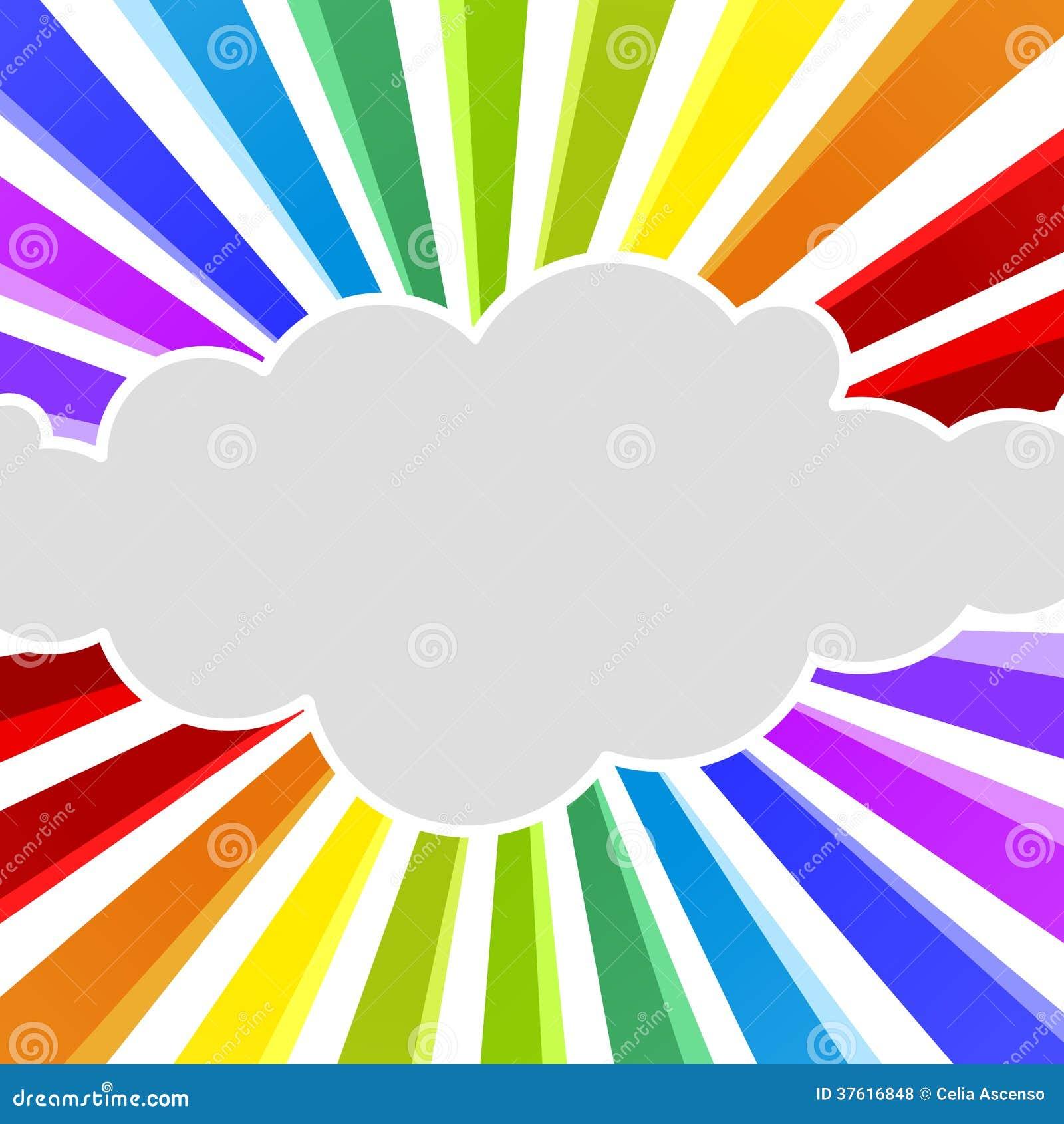 L arc-en-ciel rayonne la carte de voeux de nuage