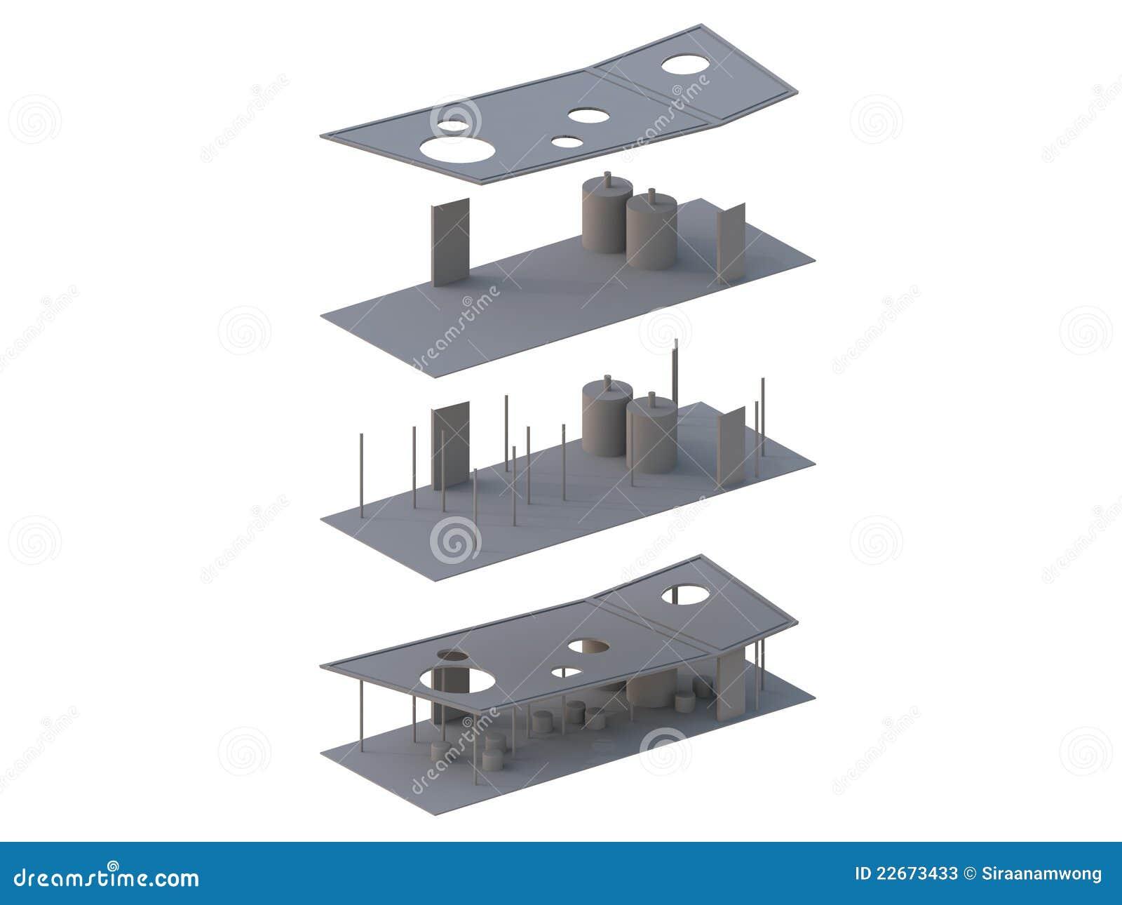 L 39 architettura ha esploso in assonometrico illustrazione for Programmi 3d architettura