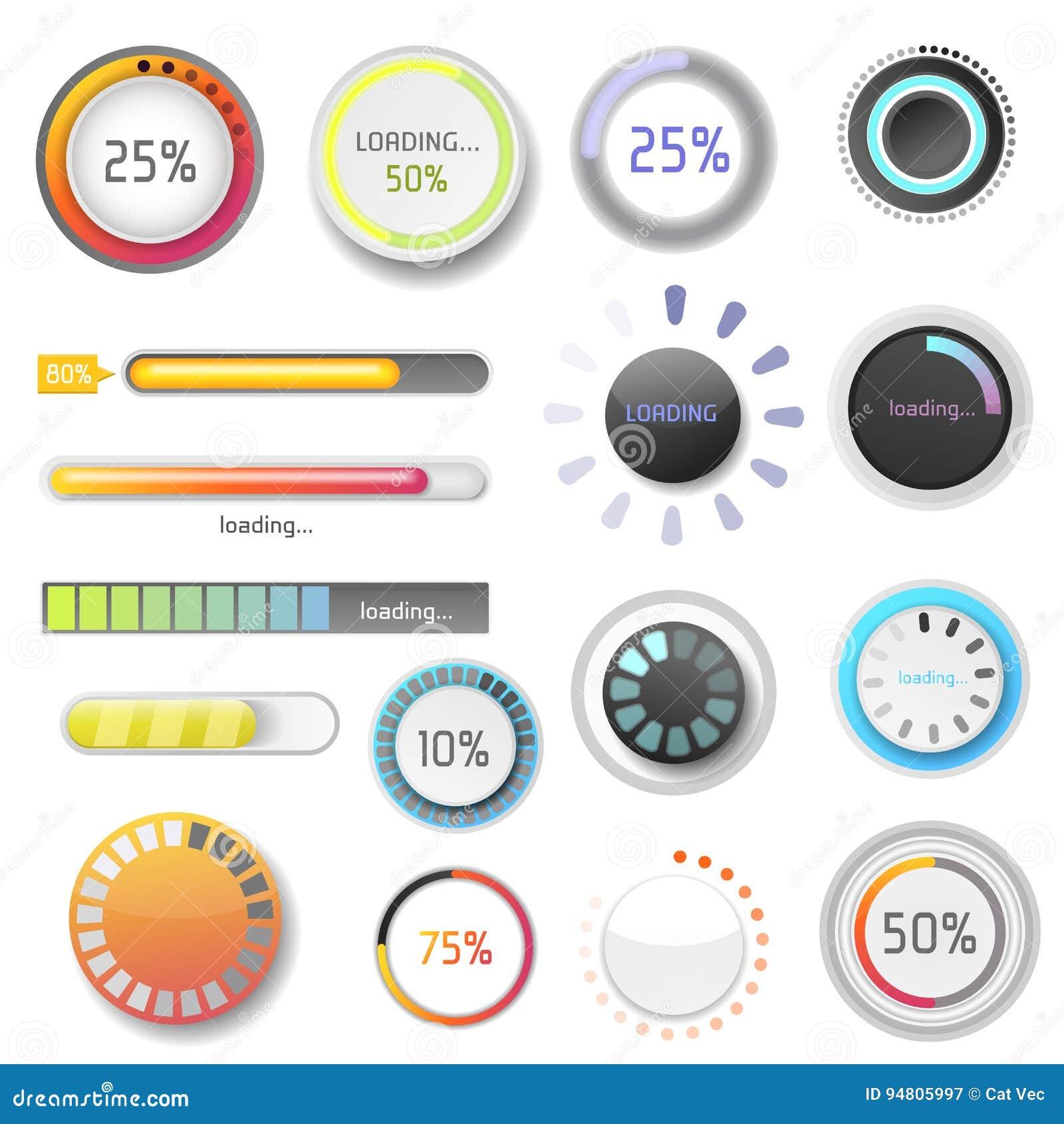 L archivio dell interfaccia del modello di web design di ui-UX di progresso di download degli indicatori della barra di caricamen