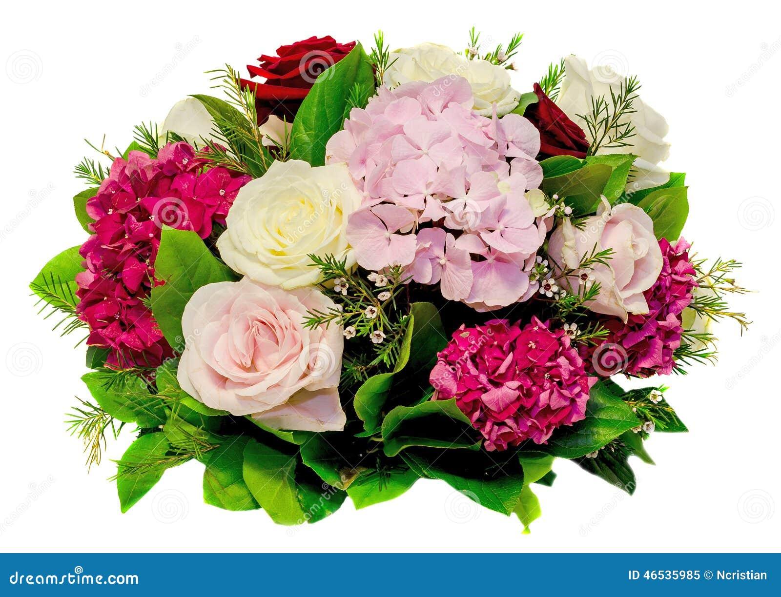 l 39 arrangement floral bouquet avec le blanc rose roses jaunes et hortensia pourpre hortensia. Black Bedroom Furniture Sets. Home Design Ideas