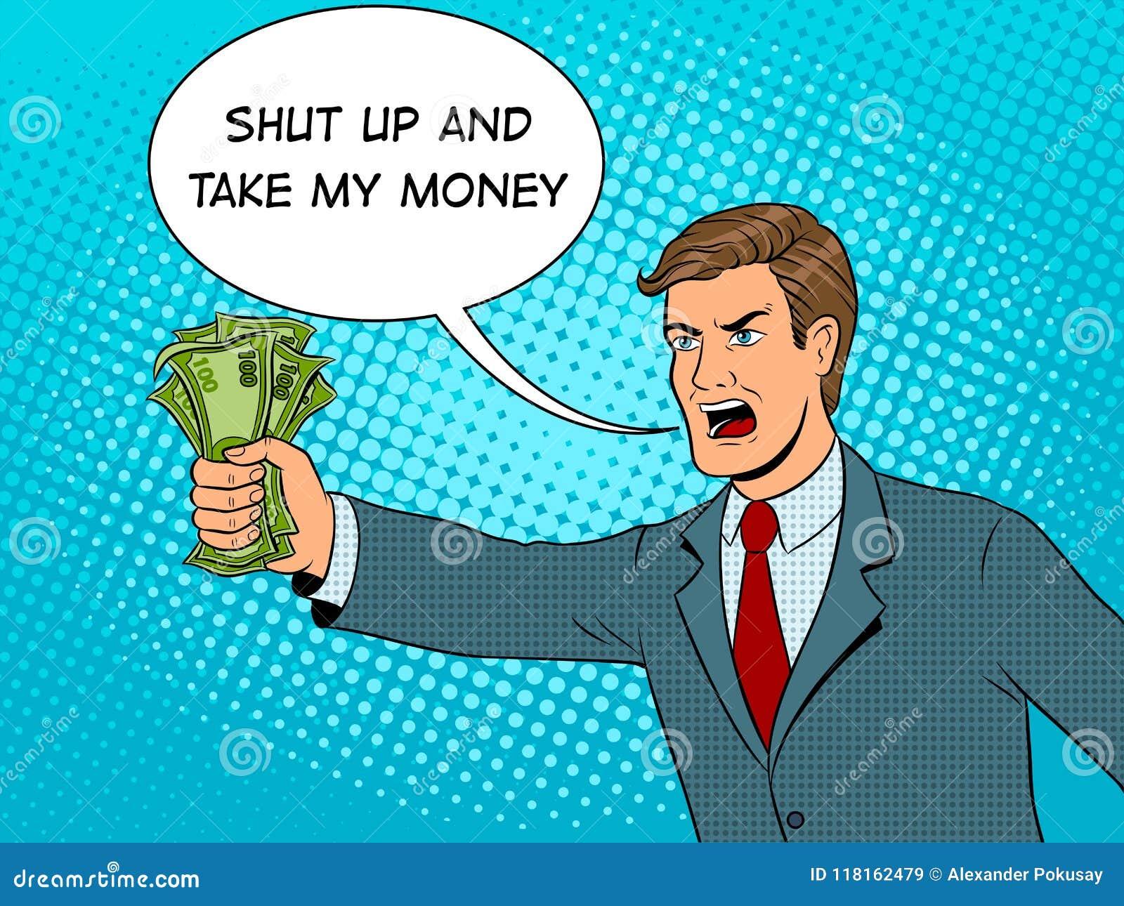 L art de bruit de cri d homme et d argent dirigent l illustration