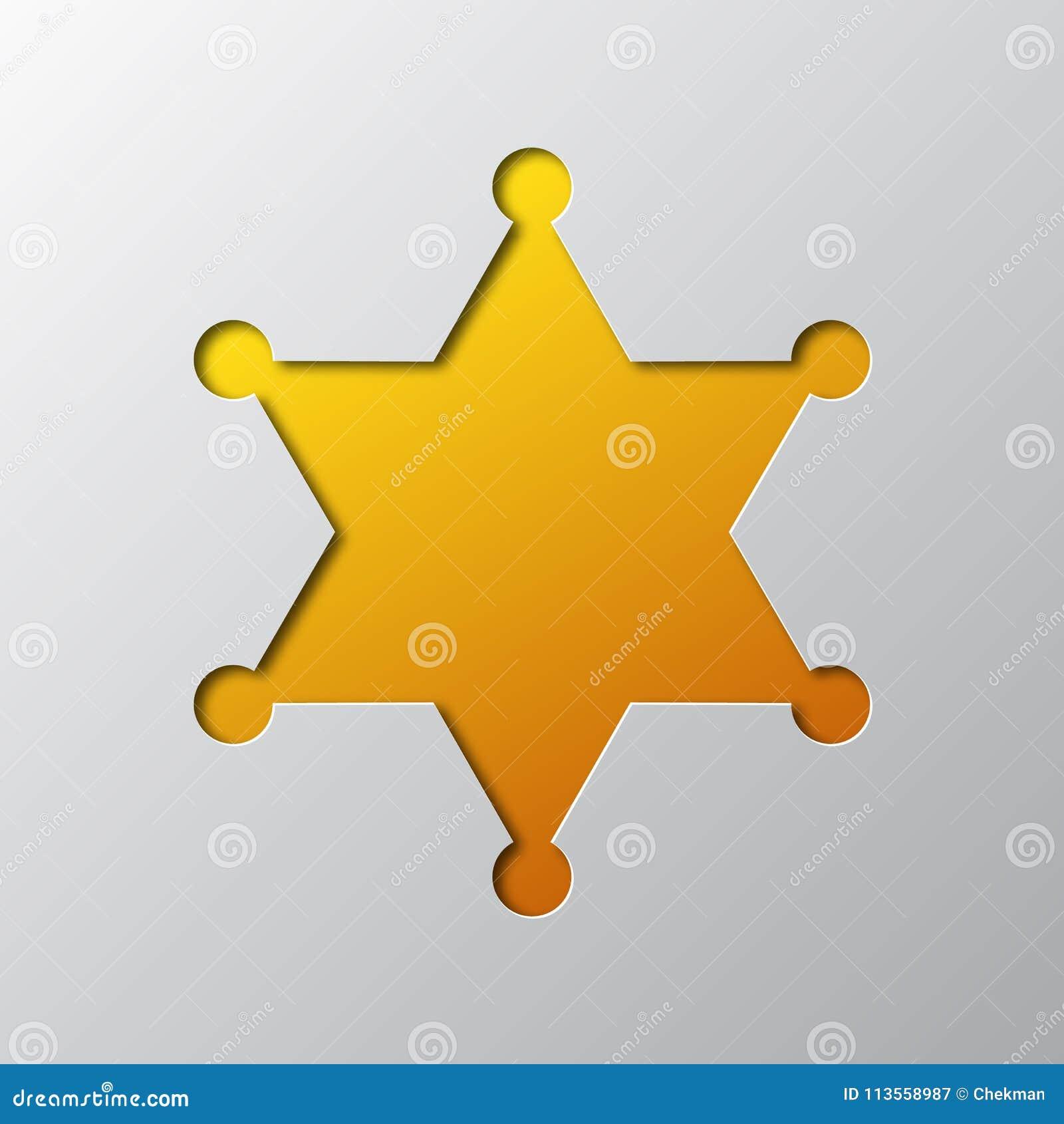 L art de papier du shérif jaune Star a isolé Illustration de vecteur