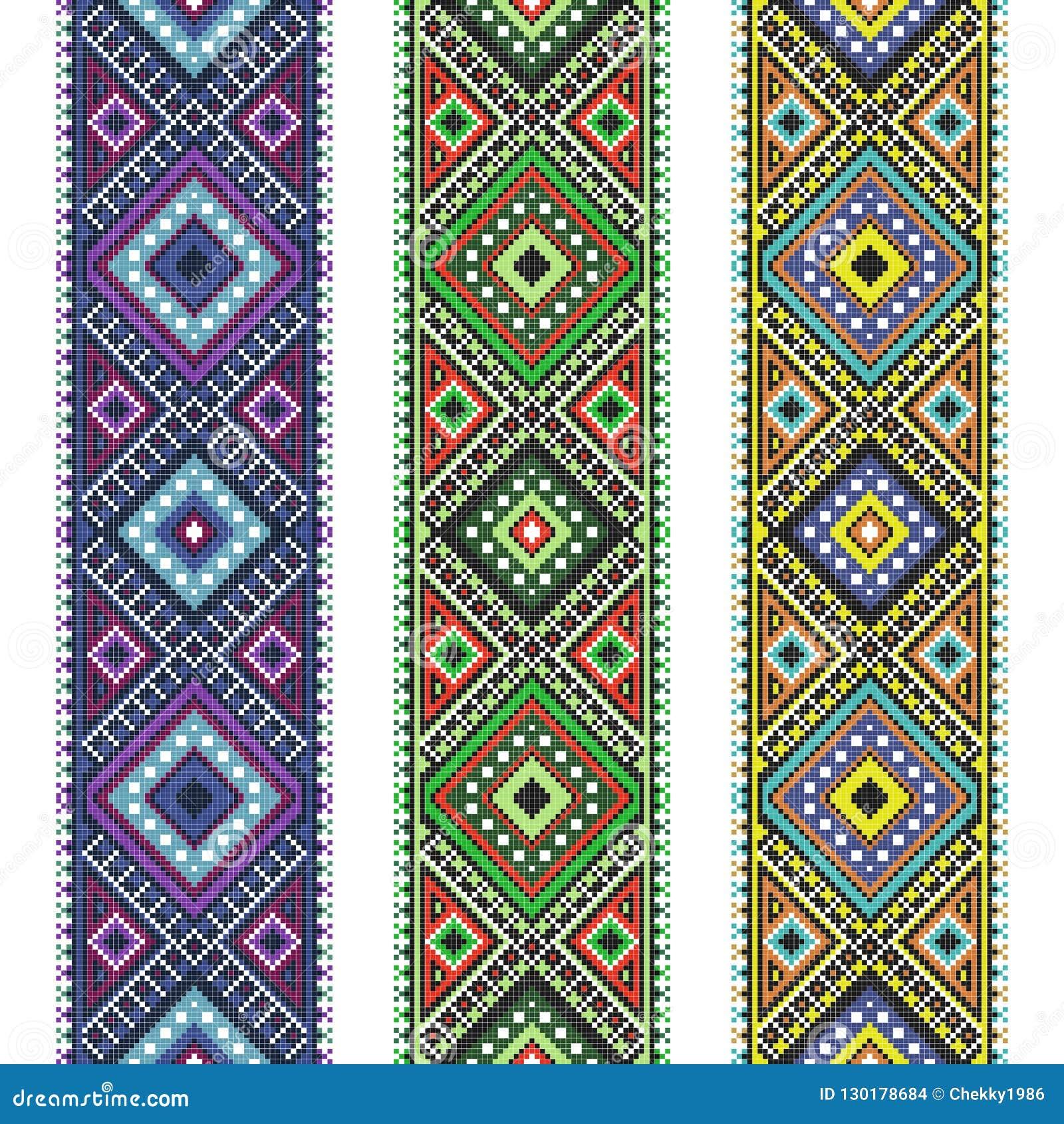 L Art Du Point De Croix l'art populaire réglé a tricoté le modèle brodé de point de