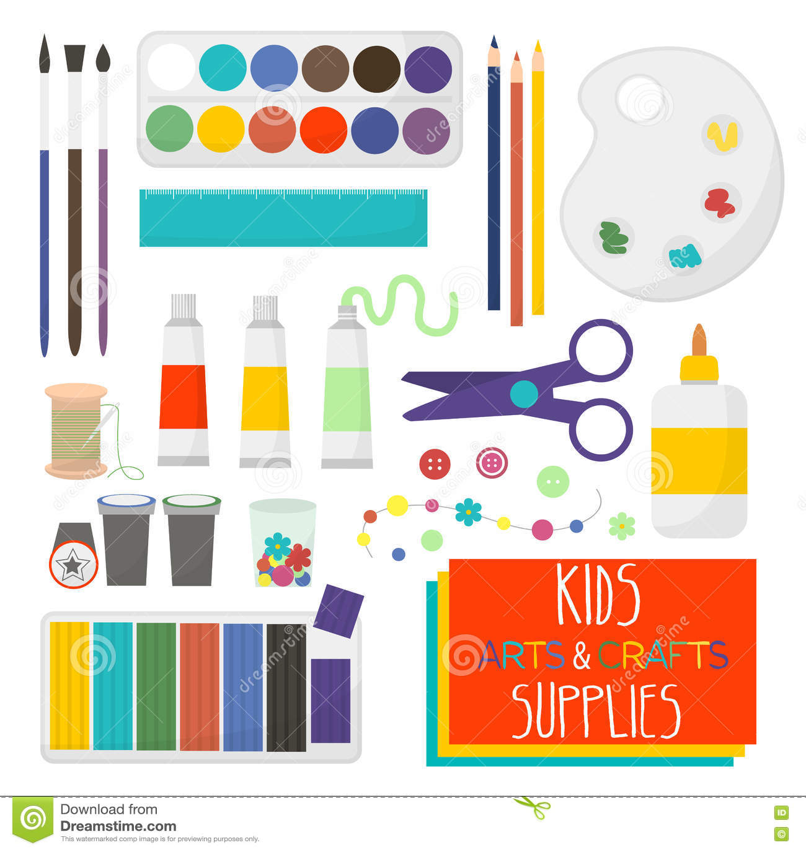 5ae2bf51e2 L arte elabora gli oggetti per creatività dei bambini Insieme dei  rifornimenti di arte per i
