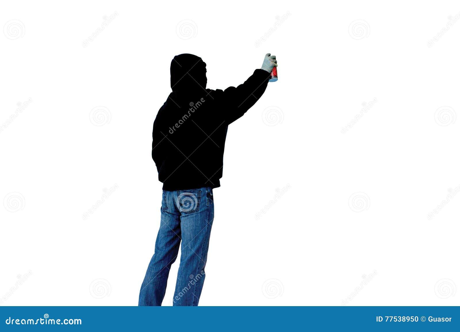 L artista con la latta della pittura di spruzzo disegna l immagine dei graffiti isolata su un fondo bianco nella vista nera della