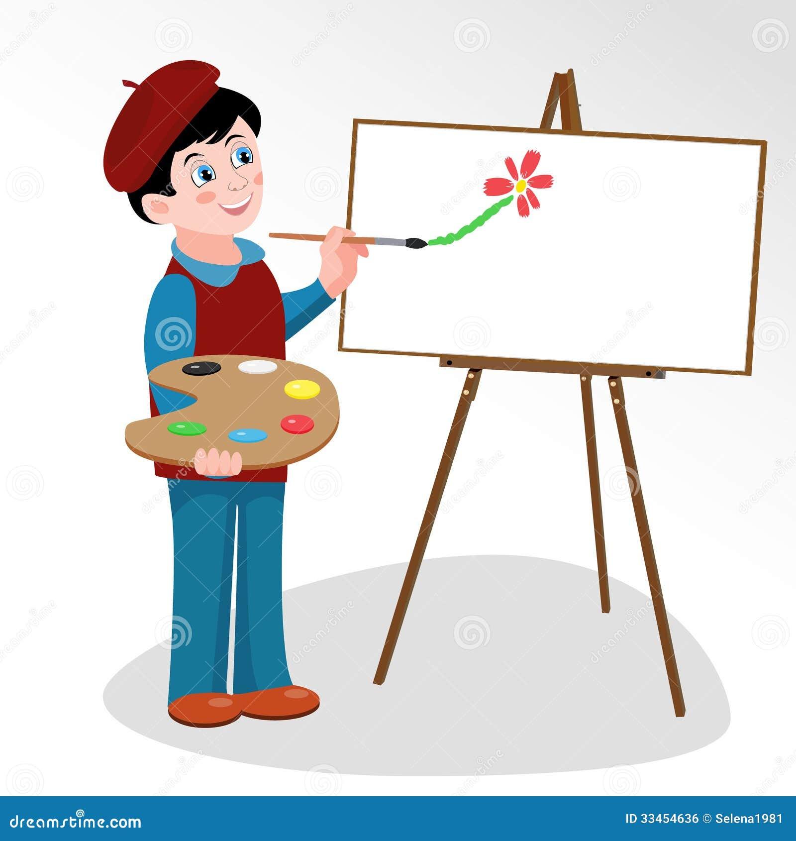 L 39 artista dipinge l 39 immagine sul cavalletto illustrazione vettoriale illustrazione di disegno - Cavalletto da pittore da tavolo ...