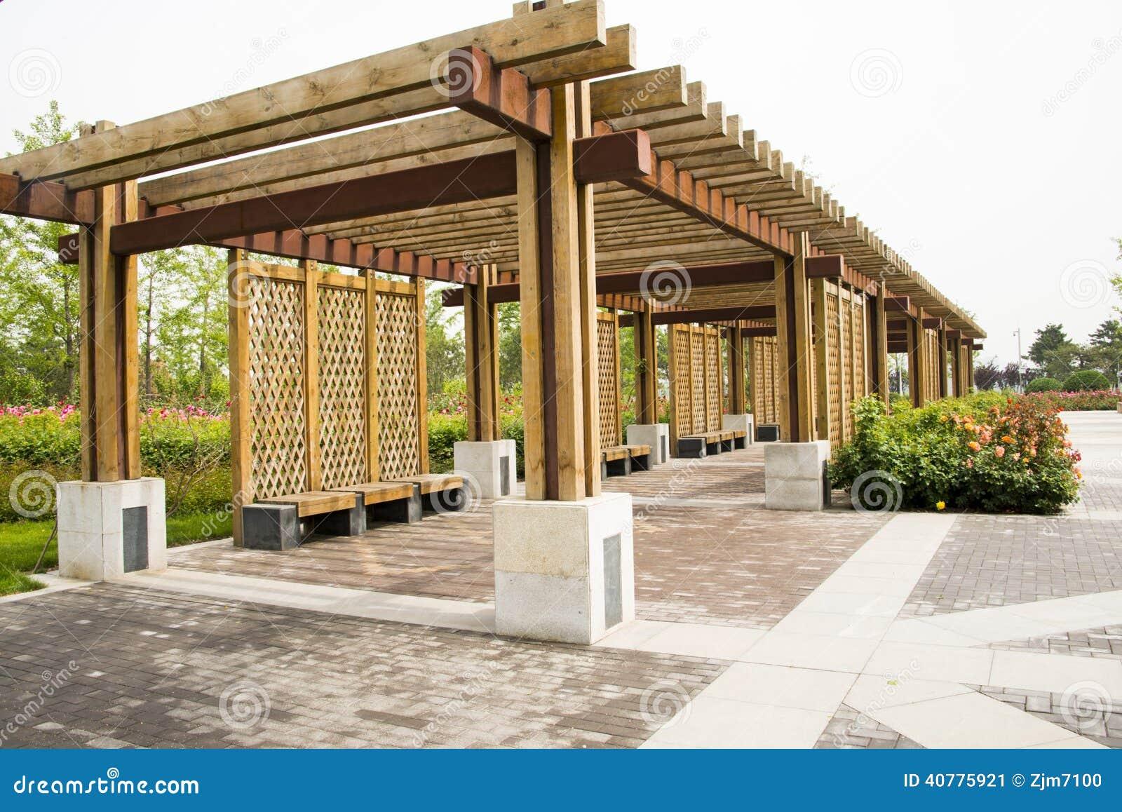 LAsiatique Chine, Maison En Bois De Structure, Sest Levé Photo stoc