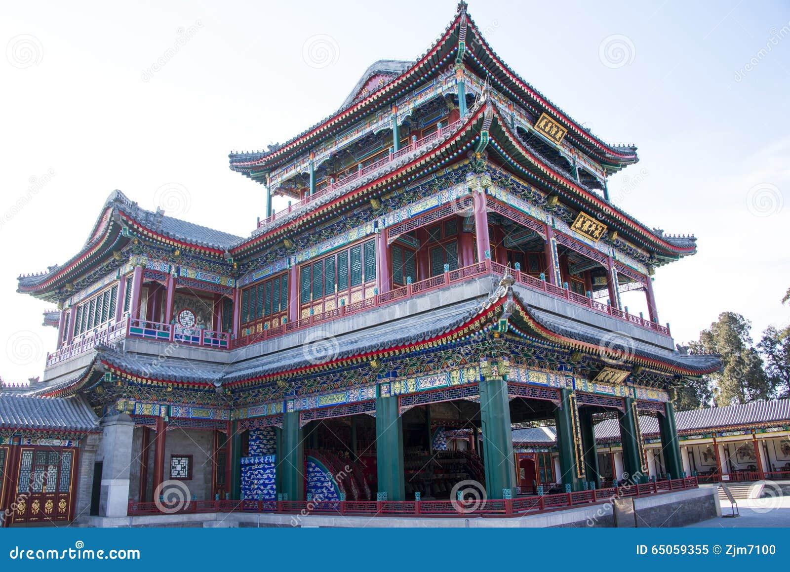 L Asie Chine, le Pékin, le palais d été, architecture classique, bâtiment de théâtre de coeur et de jardin