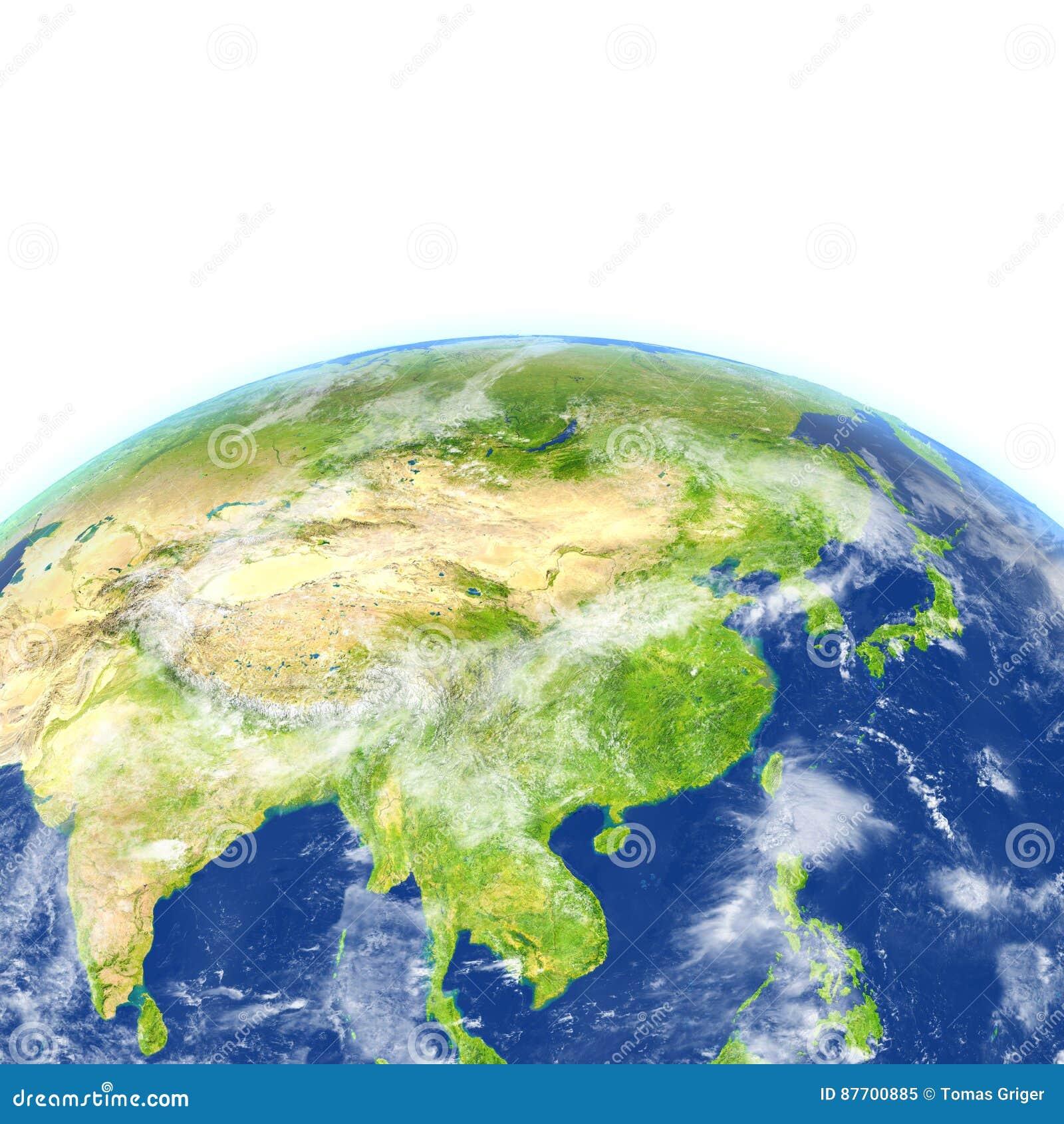L Asie de l Est sur terre de planète
