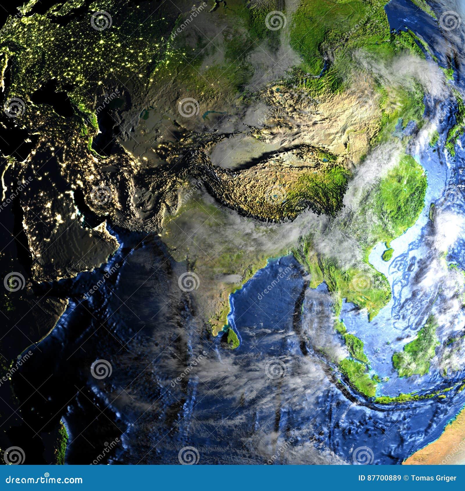 L Asie sur terre - fond océanique évident