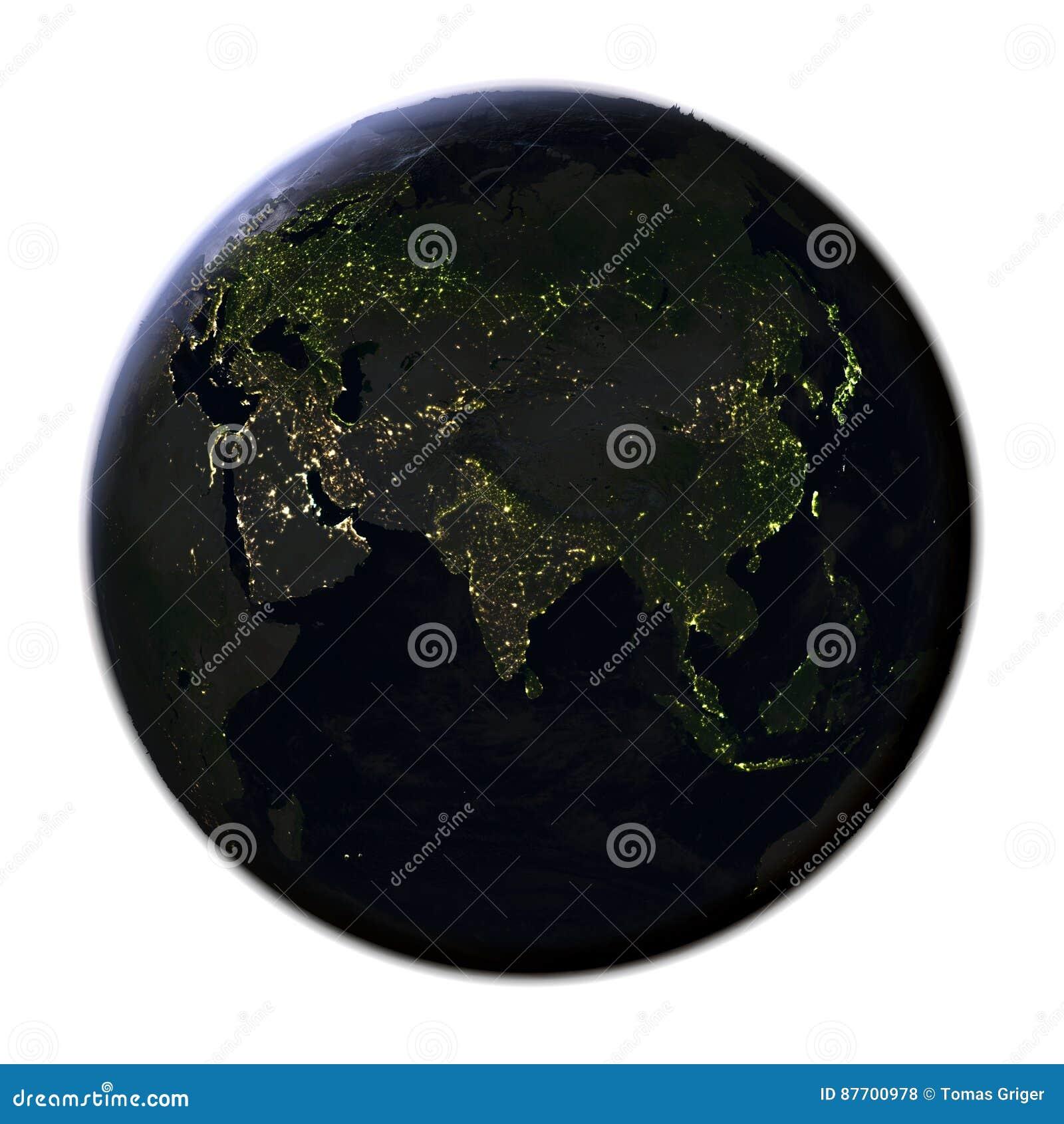 L Asie sur terre la nuit d isolement sur le blanc