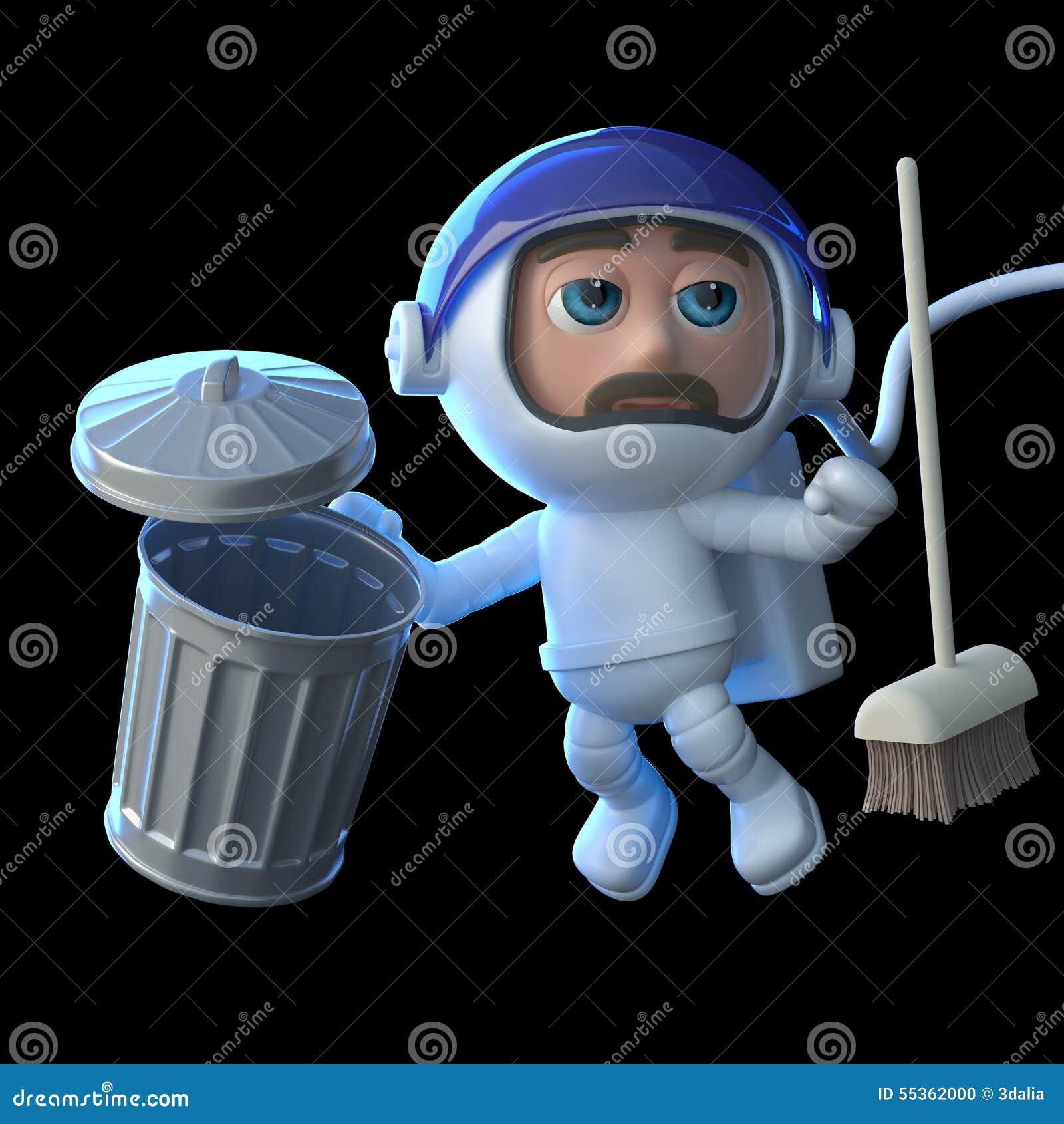 L astronauta 3d pulisce lo spazio