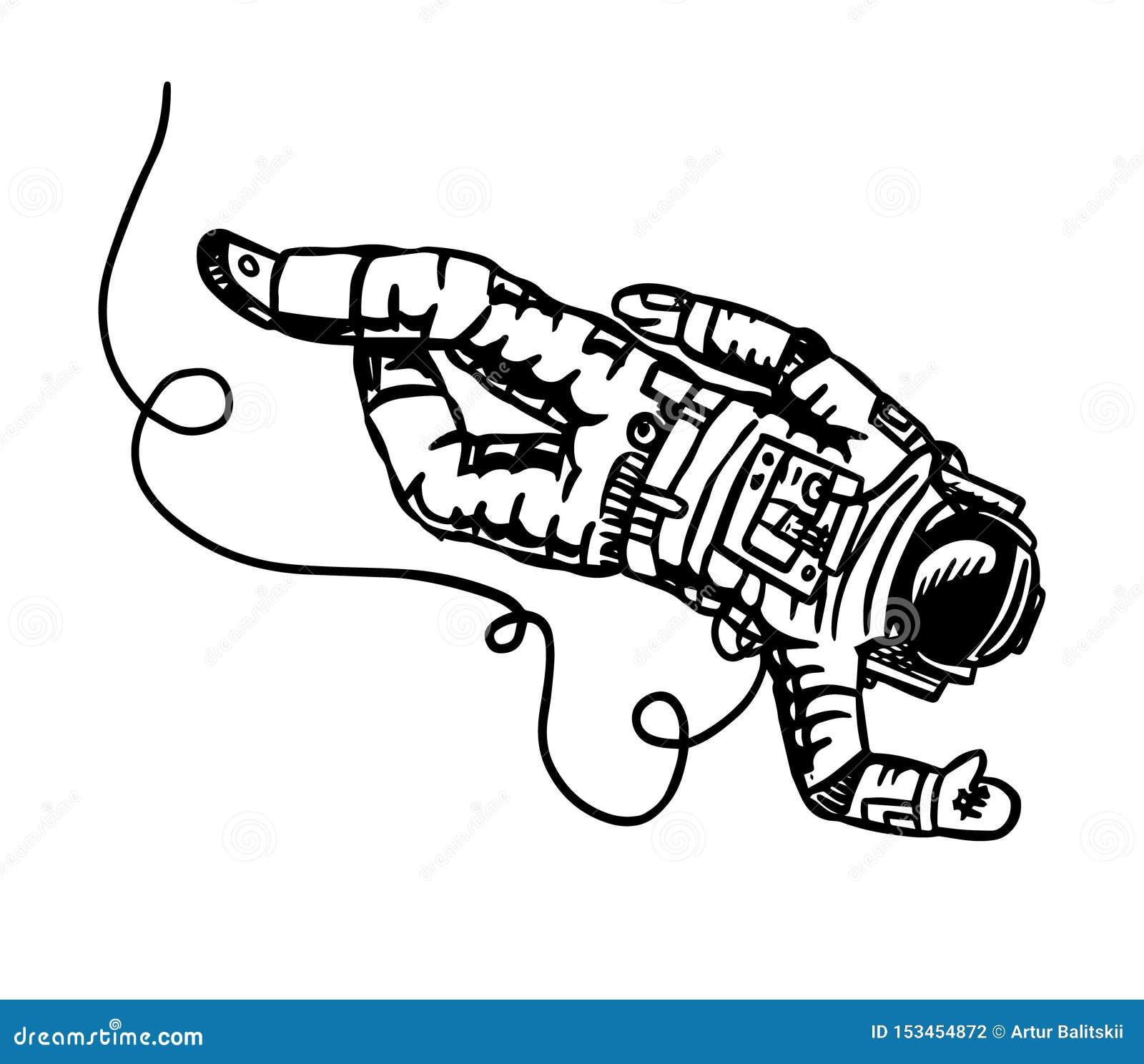L astronauta vola nello spazio L astronauta esplora lo schizzo di astronomia della galassia per l emblema o il logo nello stile d