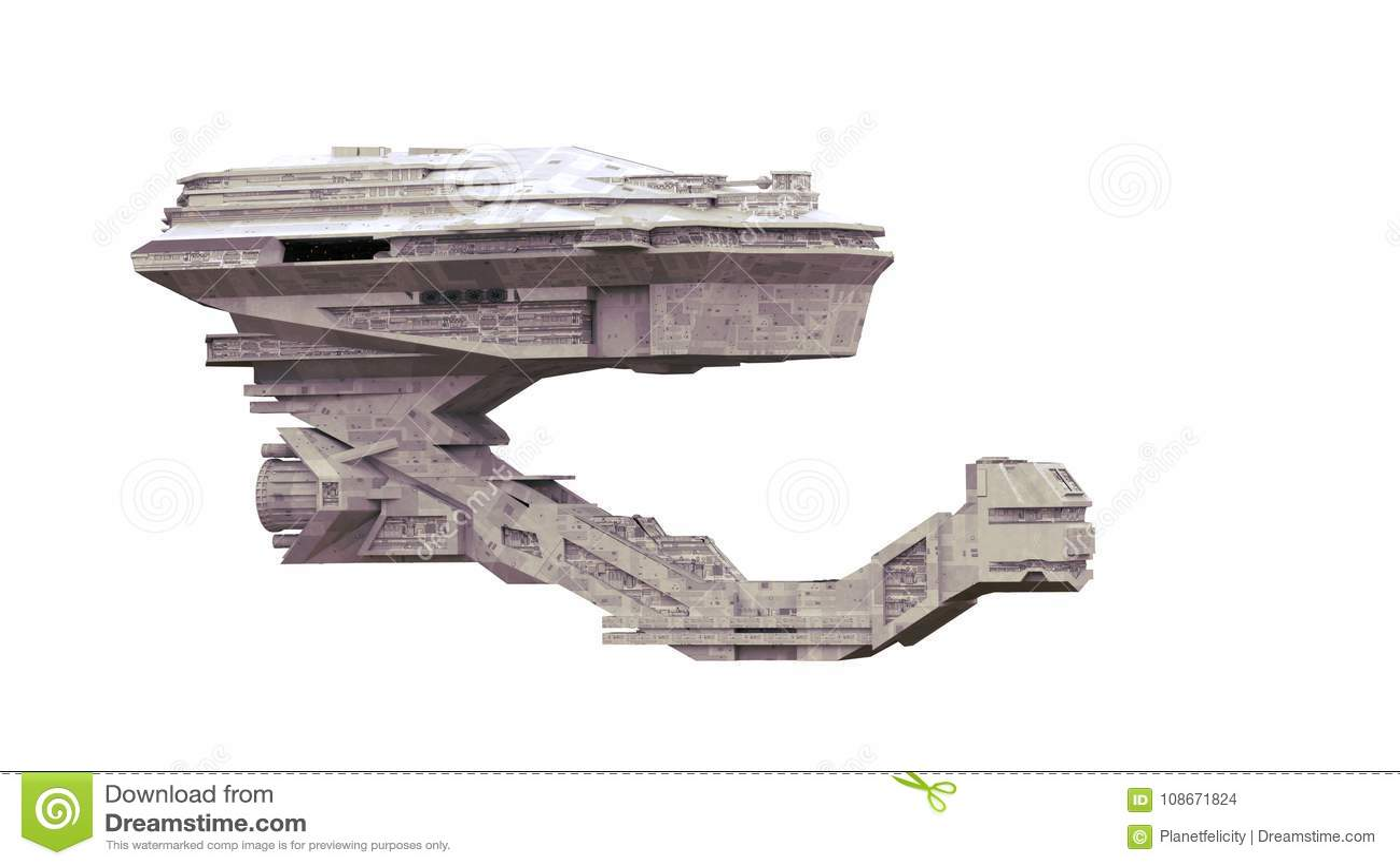 L astronave, starship molto dettagliato che viaggia nella fantascienza dello spazio 3d rende isolato su fondo bianco