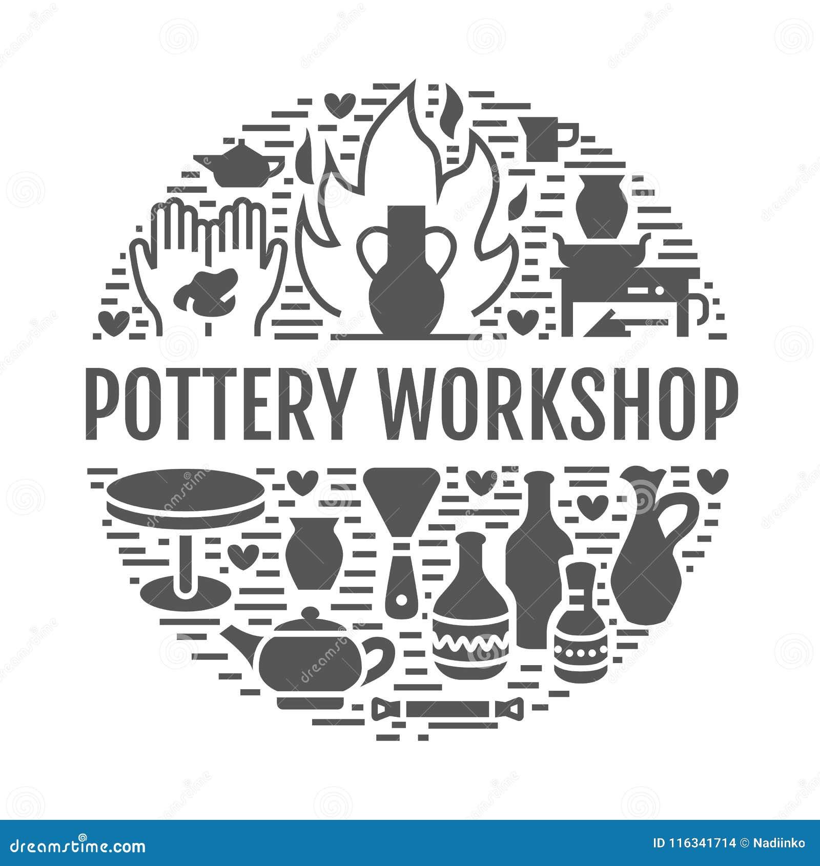 L atelier de poterie, céramique classe l illustration de bannière Icônes de glyph de vecteur des outils de studio d argile Bâtime