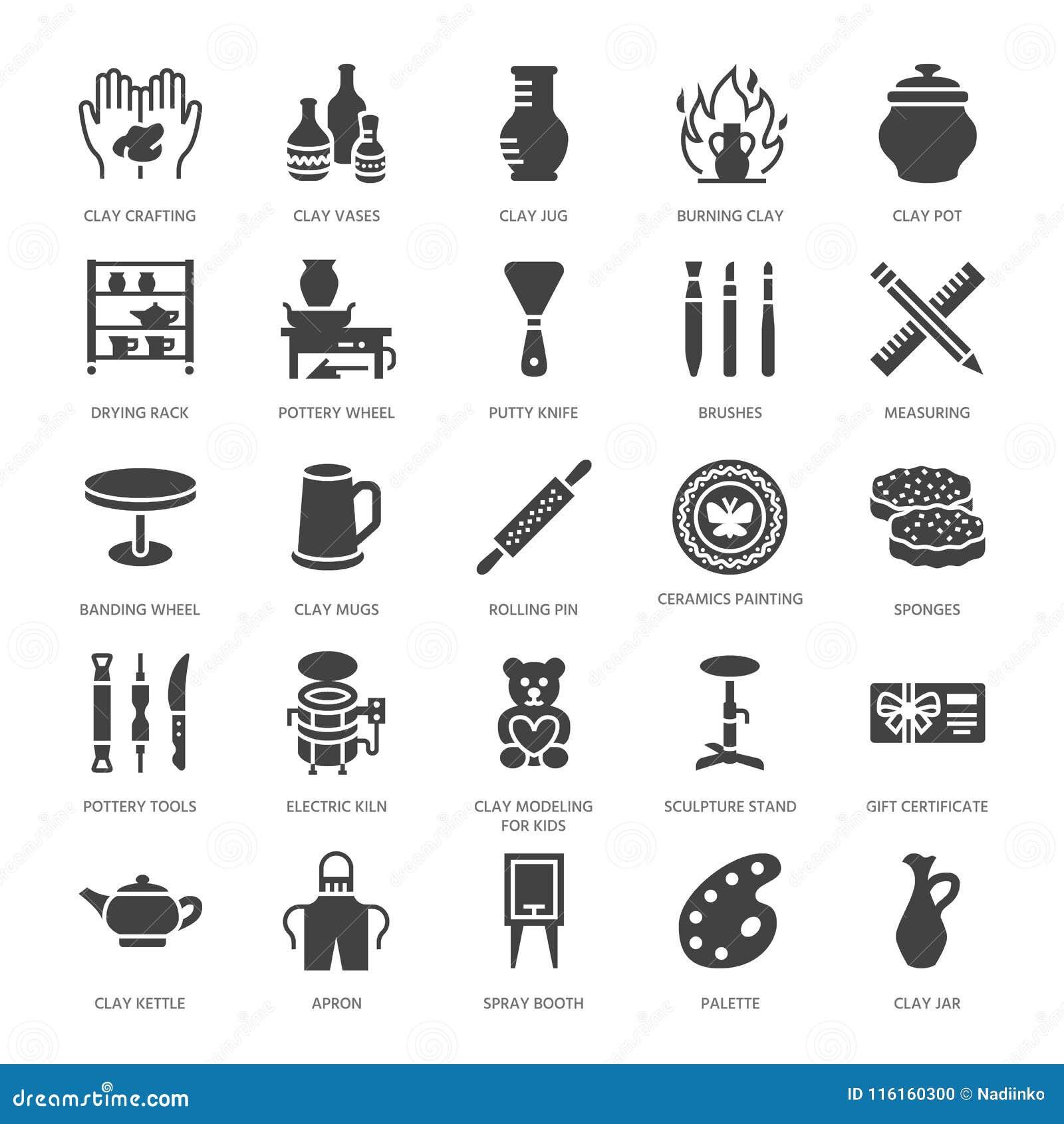 L atelier de poterie, céramique classe les icônes plates de glyph Signes de studio d argile Bâtiment de main, sculptant l équipem
