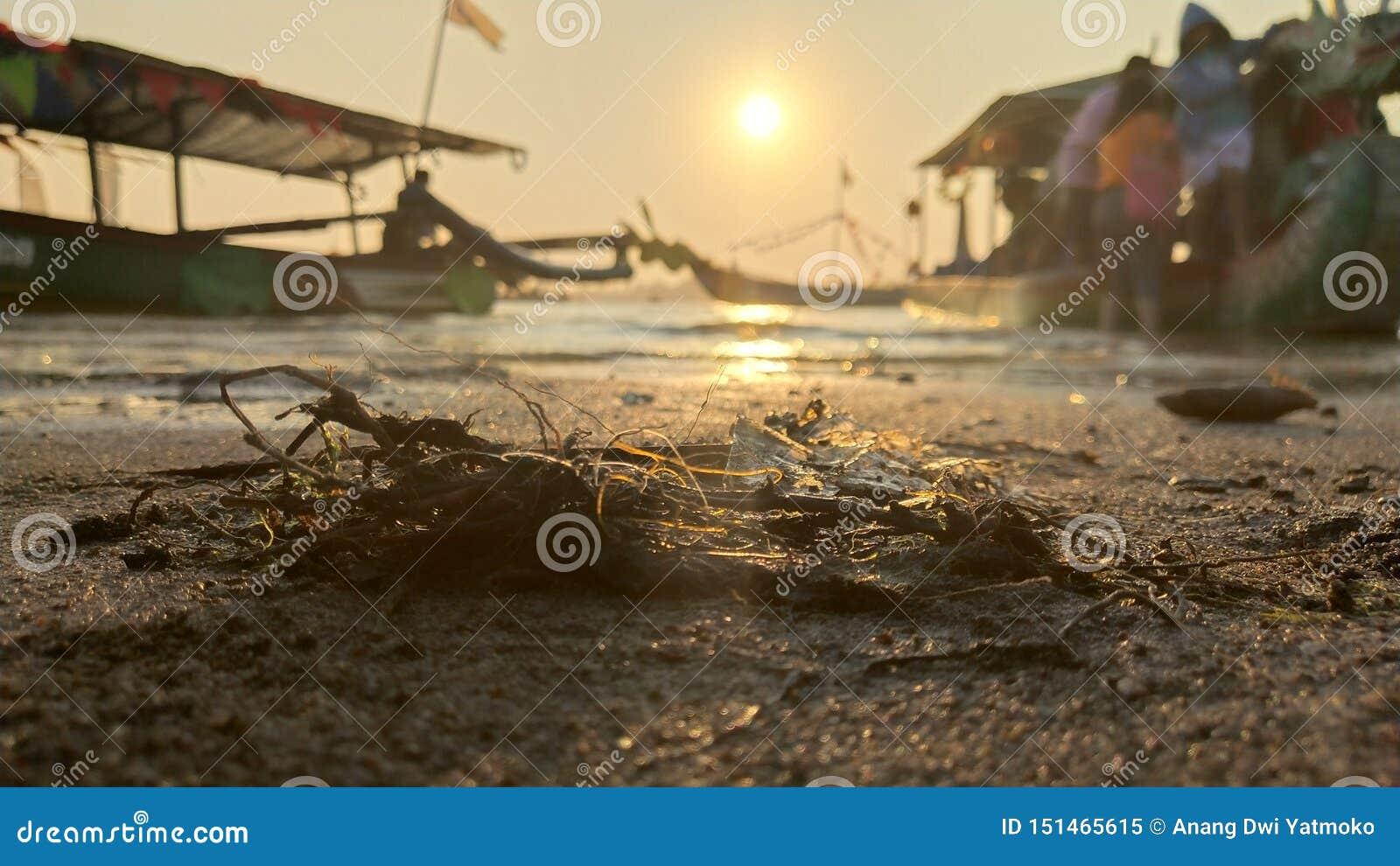L atmosfera crepuscolare sulla laguna sulla spiaggia al tramonto è così bella con i colori dorati