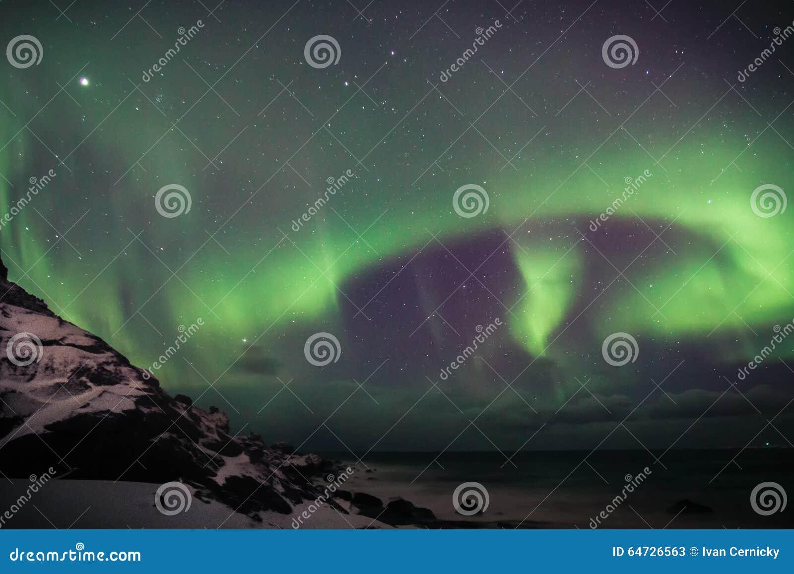 L aurore au-dessus de Lofoten, Norvège