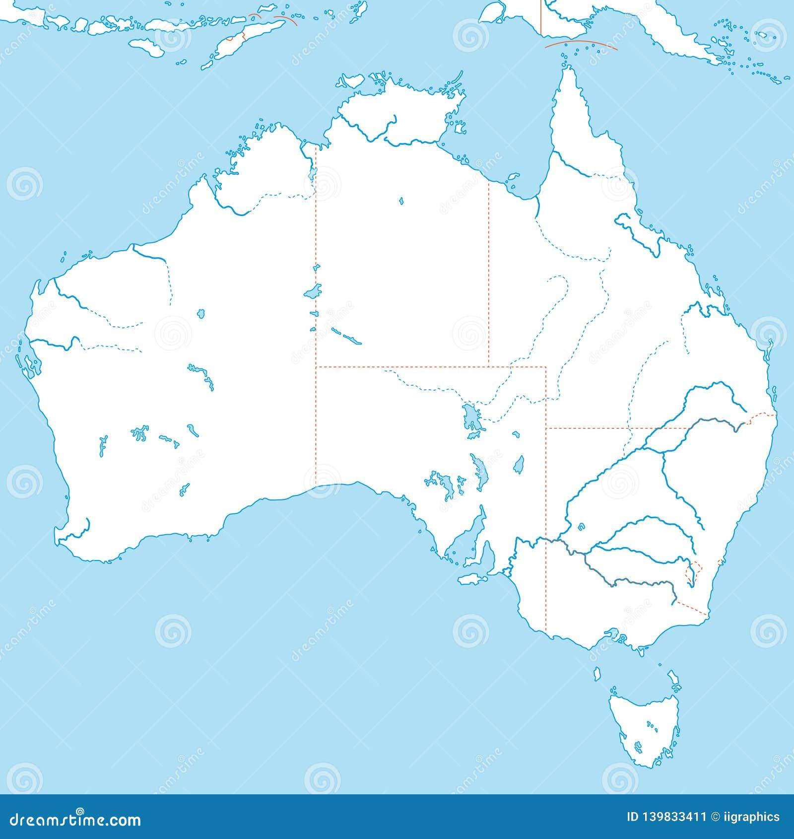 Carte Australie Pacifique.L Australie Carte Politique De L Australie Illustration