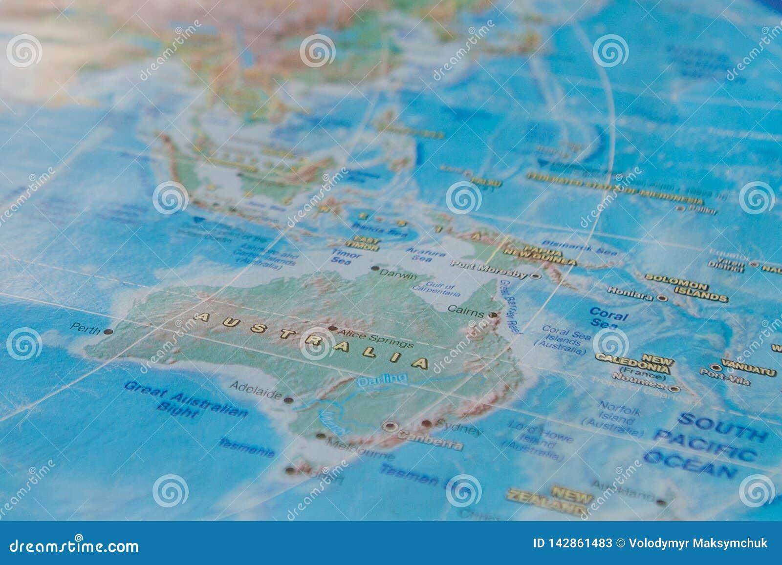L Australie Dans La Fin Sur La Carte Foyer Sur Le Nom Du Pays Effet De Degrade Image Stock Image Du Effet Dans 142861483