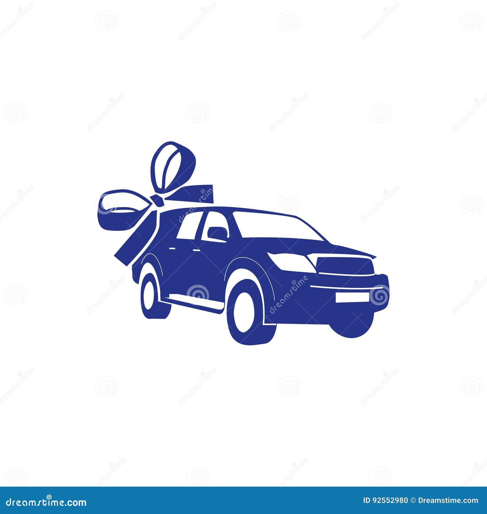 L automobile come regalo, stile piano di progettazione dell illustrazione di riserva di vettore dell icona