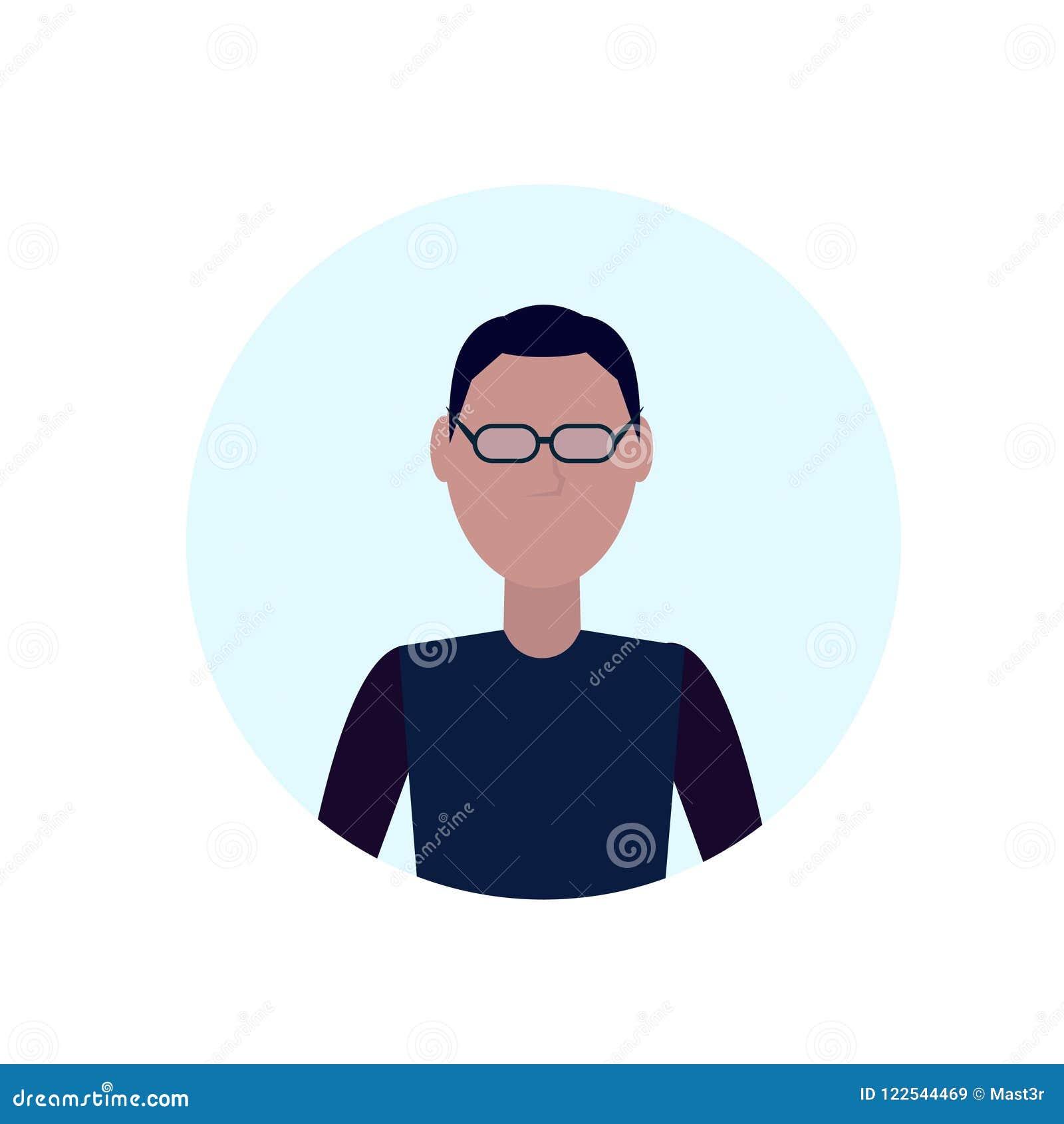L avatar d homme de brune a isolé l appartement masculin sans visage de portrait de personnage de dessin animé