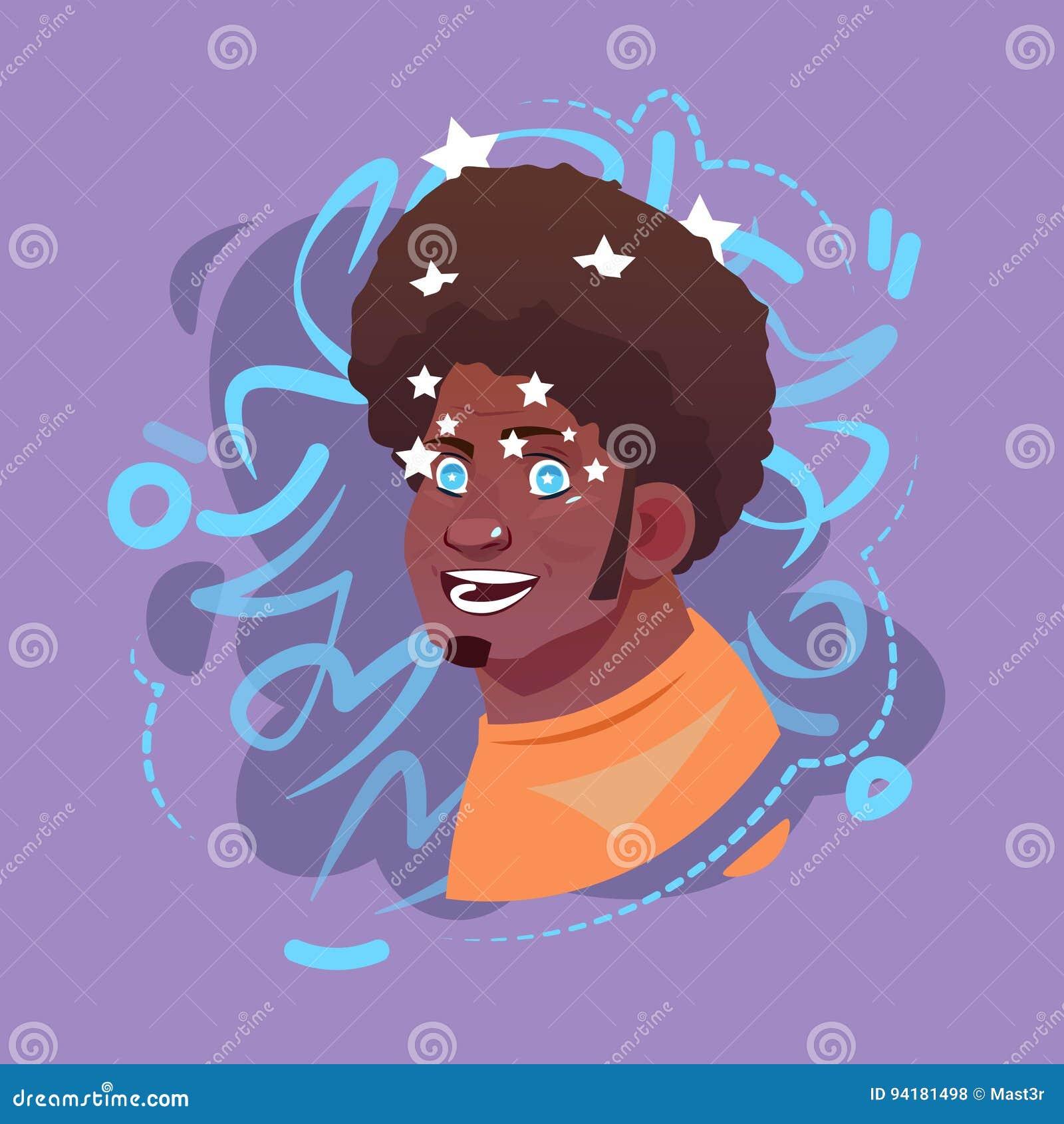 L avatar masculin arabe d émotion d icône de profil, visage musulman de portrait de bande dessinée d homme voient des étoiles éto