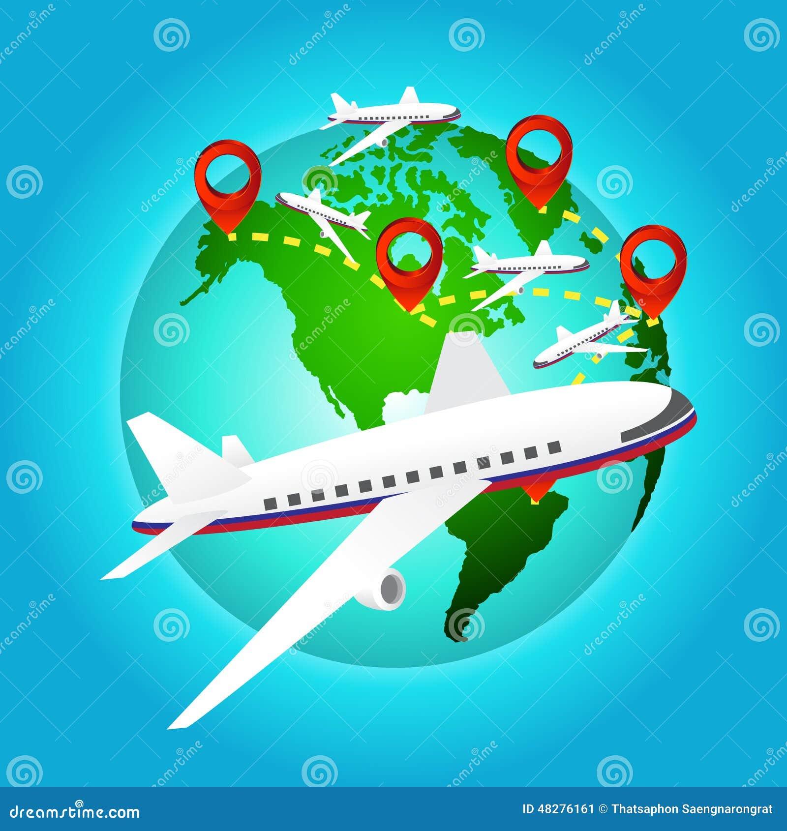 l avion voyage autour du monde avec l icne de goupille lments de carte de