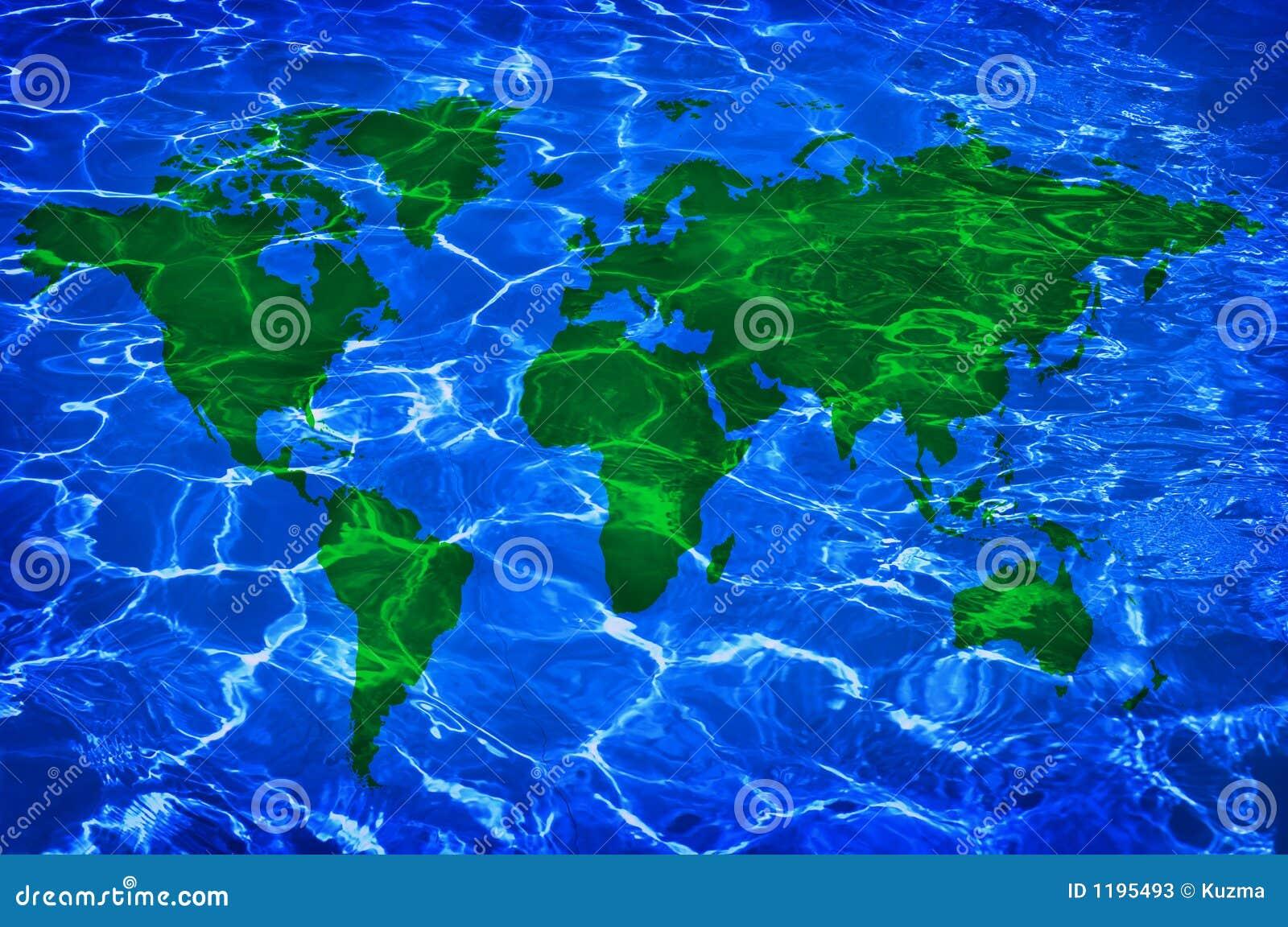 L eau bleue et carte verte de worlwide