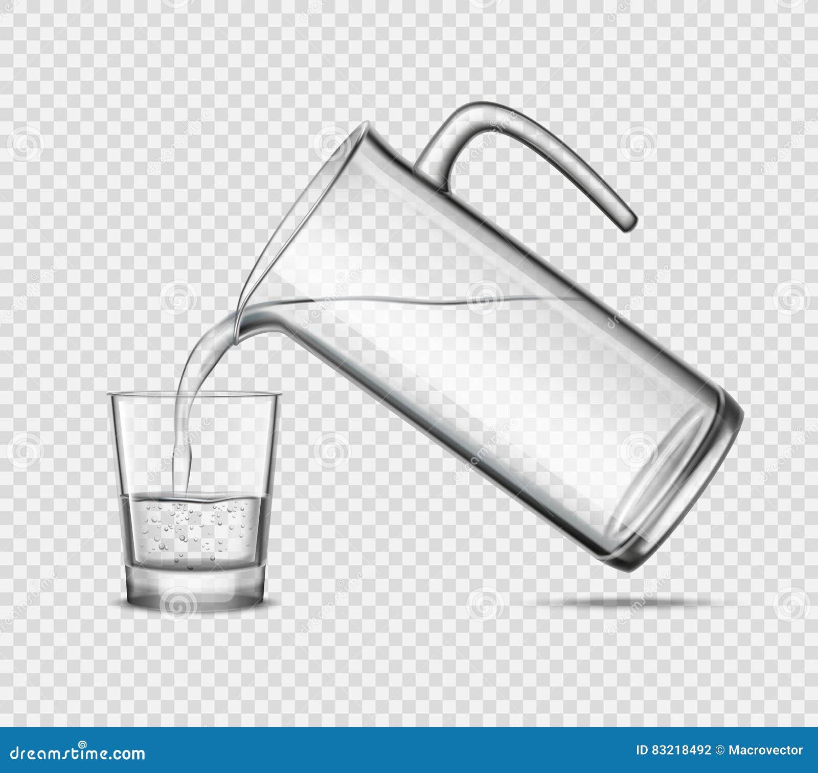 L eau de versement en verre sur le fond transparent
