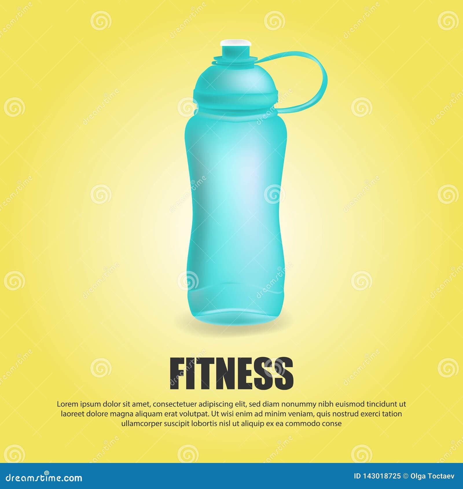 L eau folâtre de sport de vecteur bleu de bouteille a mis la boisson thermo et l ensemble en bouteille sportif de boisson en plas