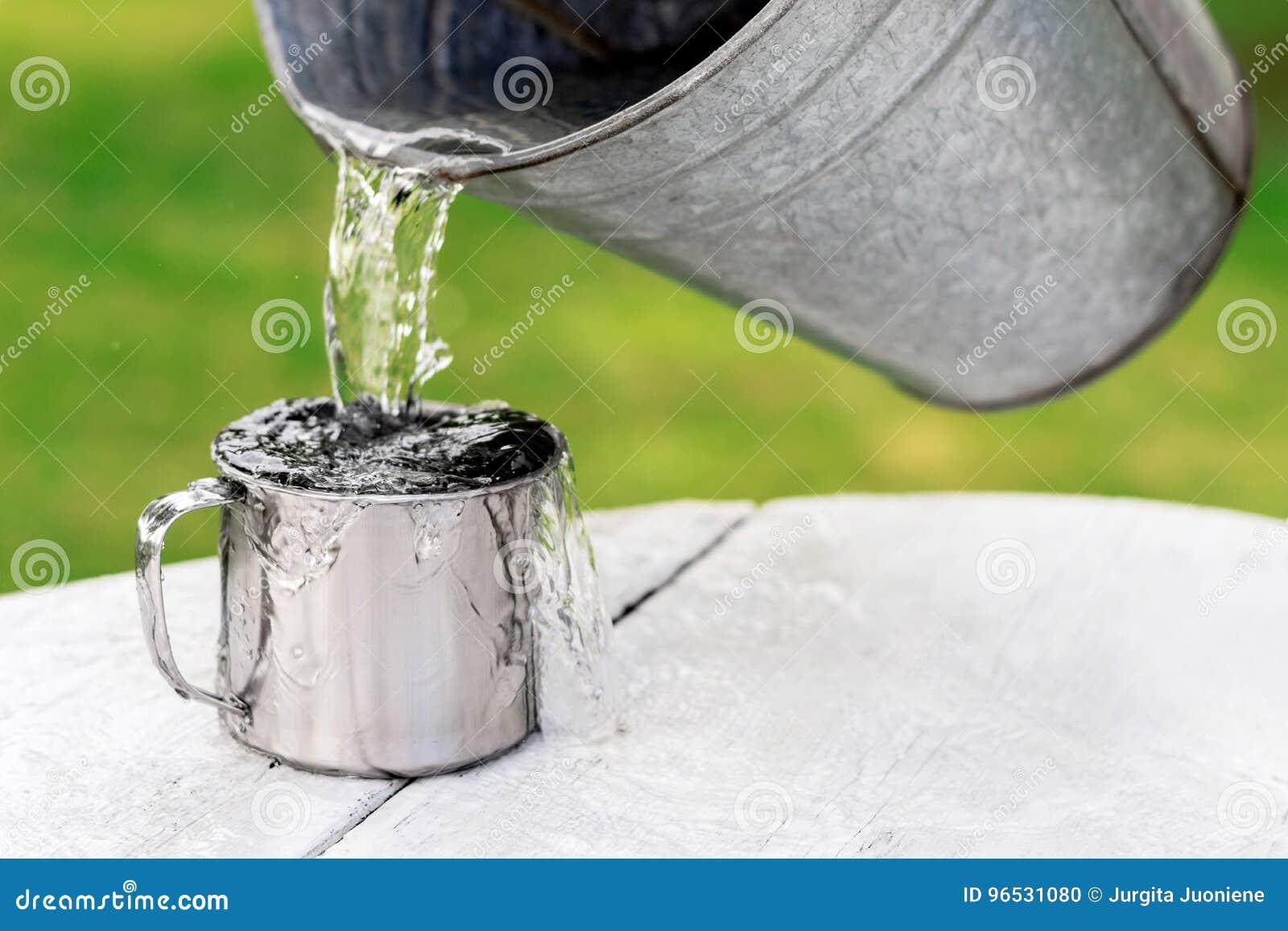 L eau verse hors du seau dans la tasse