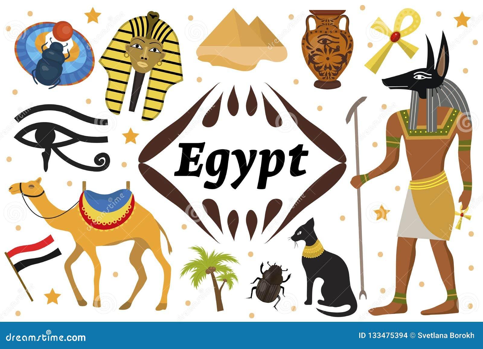 L Egitto magico antico ha messo gli oggetti delle icone Scarabei di dispiacere della strega degli elementi di progettazione della