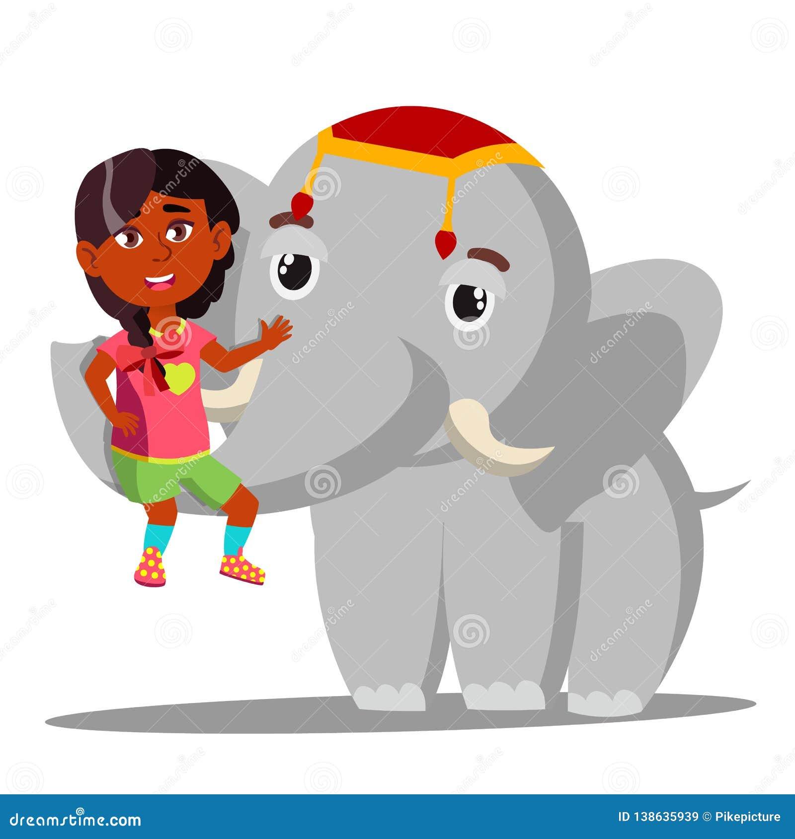 L elefante tiene una piccola ragazza indiana sul vettore del tronco Illustrazione isolata