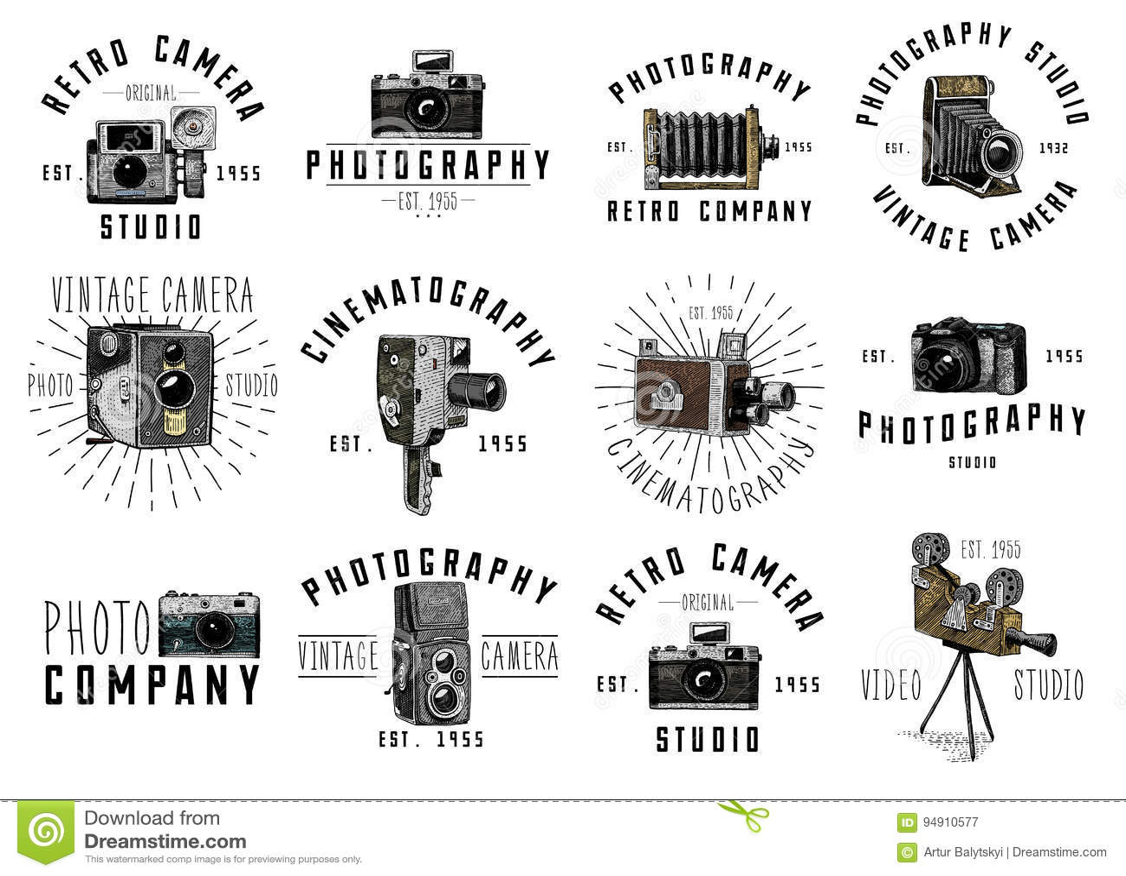 L emblème de logo de photo ou le label, vidéo, le film, appareil-photo de film d abord jusqu maintenant au vintage, a gravé tiré