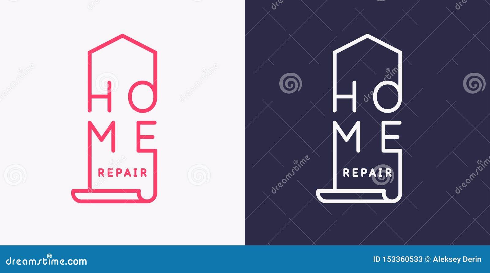 L emblema della riparazione domestica Illustrazione moderna di vettore
