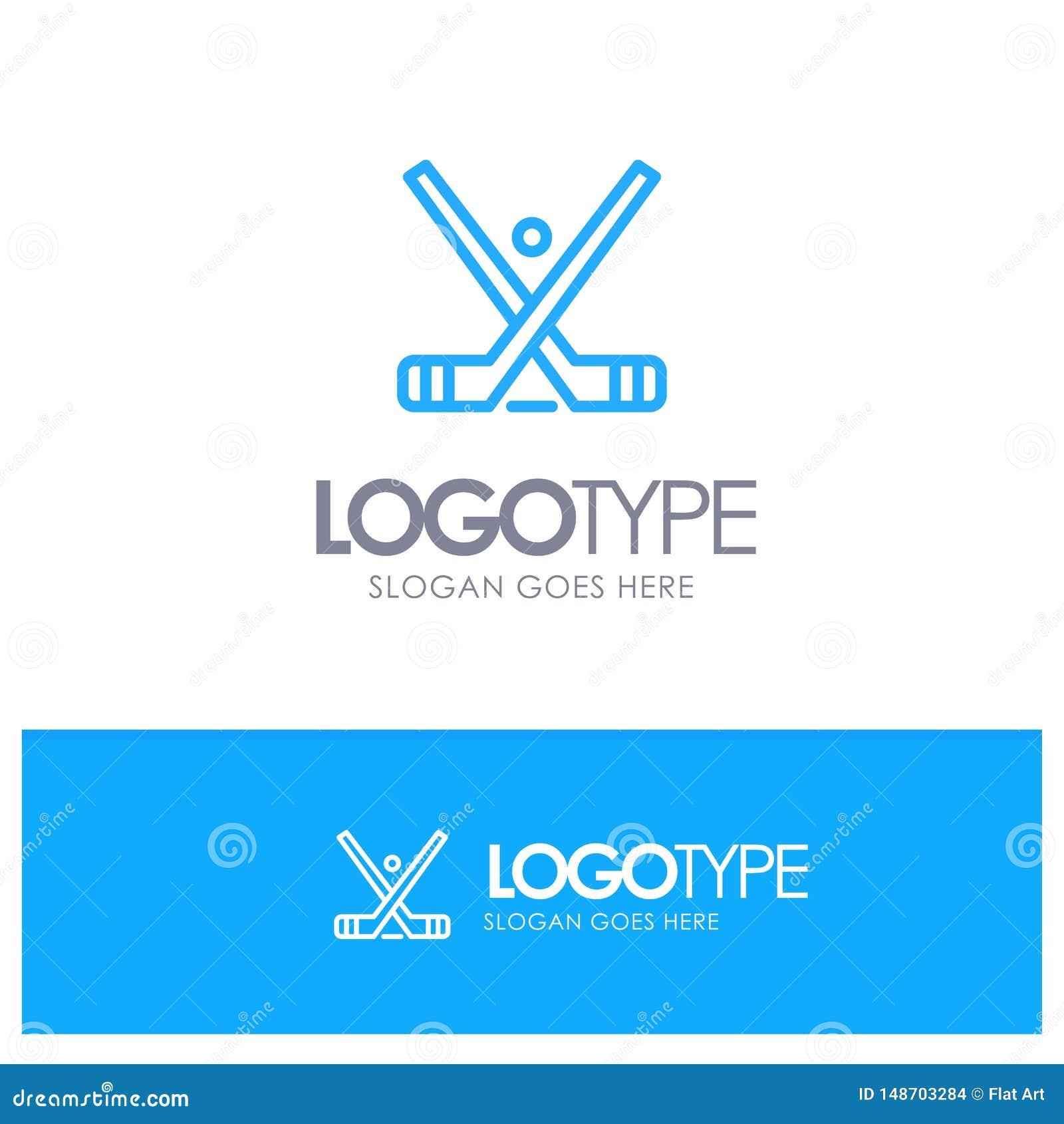 L emblema, hockey, ghiaccio, bastone, attacca il logo blu del profilo con il posto per il tagline