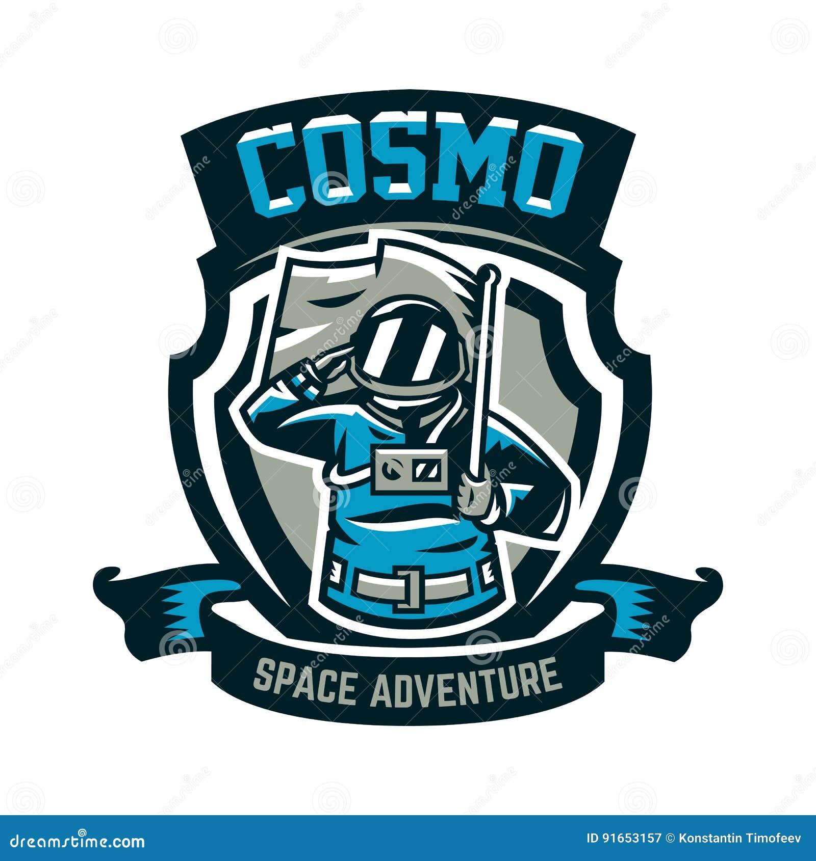 L emblema, logo, un astronauta saluta e tiene una bandiera Volo alla luna, spazio, viaggio intergalattico, universo, schermo