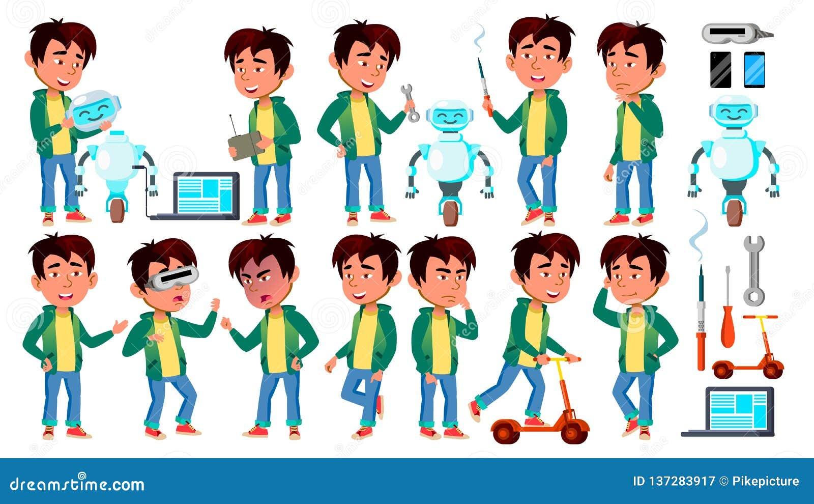 L enfant asiatique de garçon pose le vecteur réglé Aide de robot de construction Écolier primaire Pour la présentation, invitatio