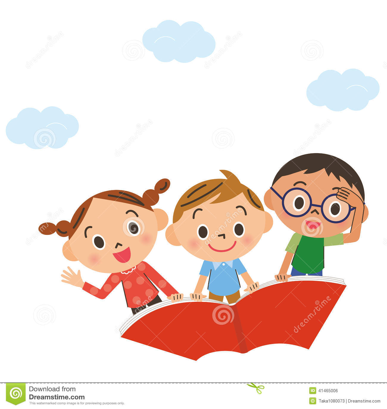 L Enfant Qui Vole Dans Le Ciel Sur Un Livre Illustration