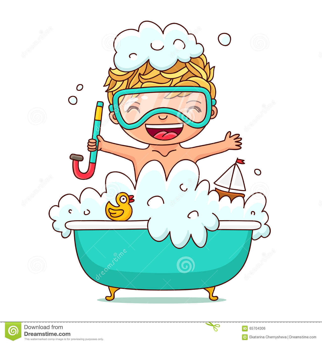 L 39 enfant s 39 assied dans un bain de mousse illustration de vecteur image 65704306 for Photo dans un bain