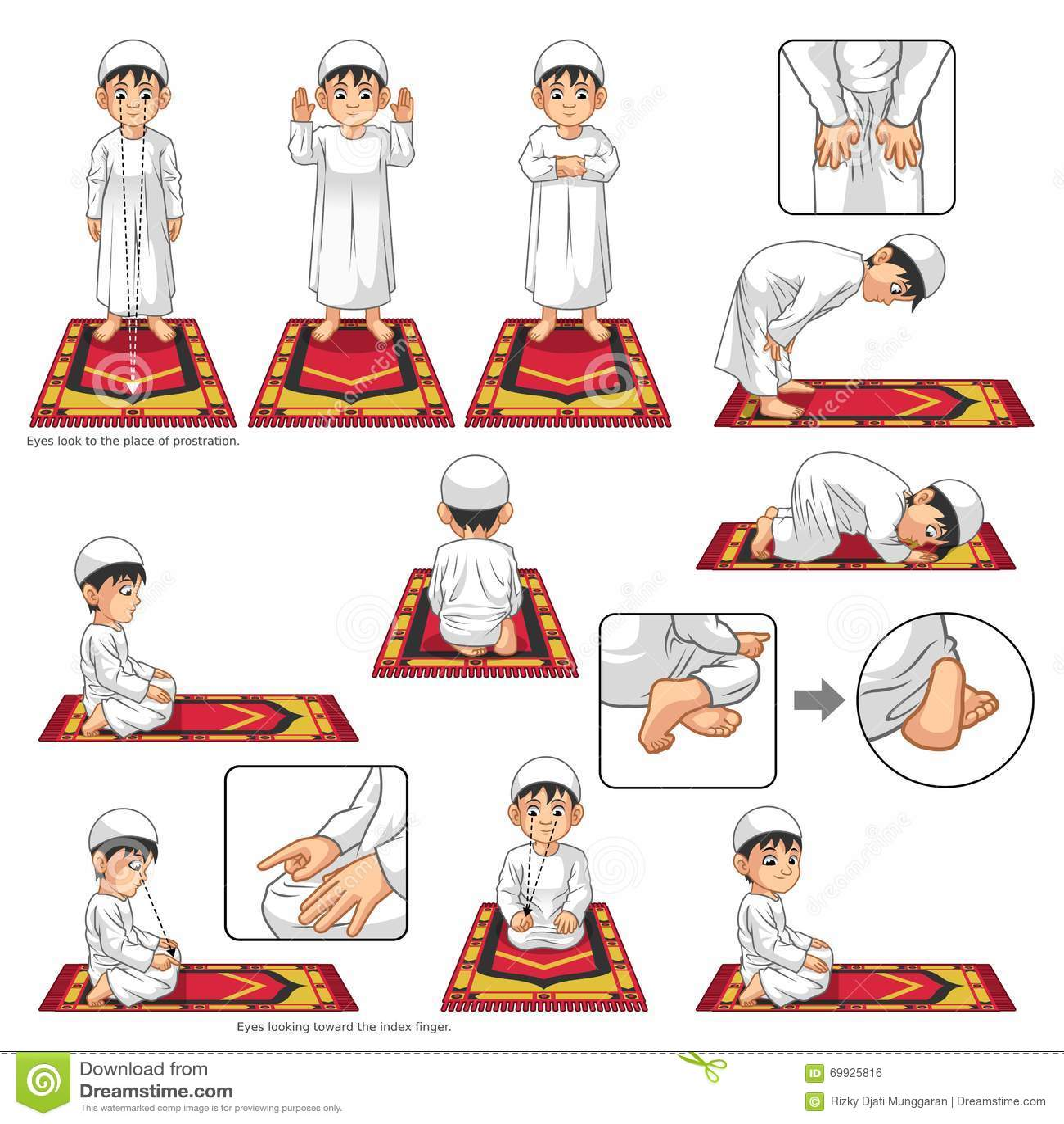 L ensemble complet de guide musulman de position de prière exécutent point par point par le garçon