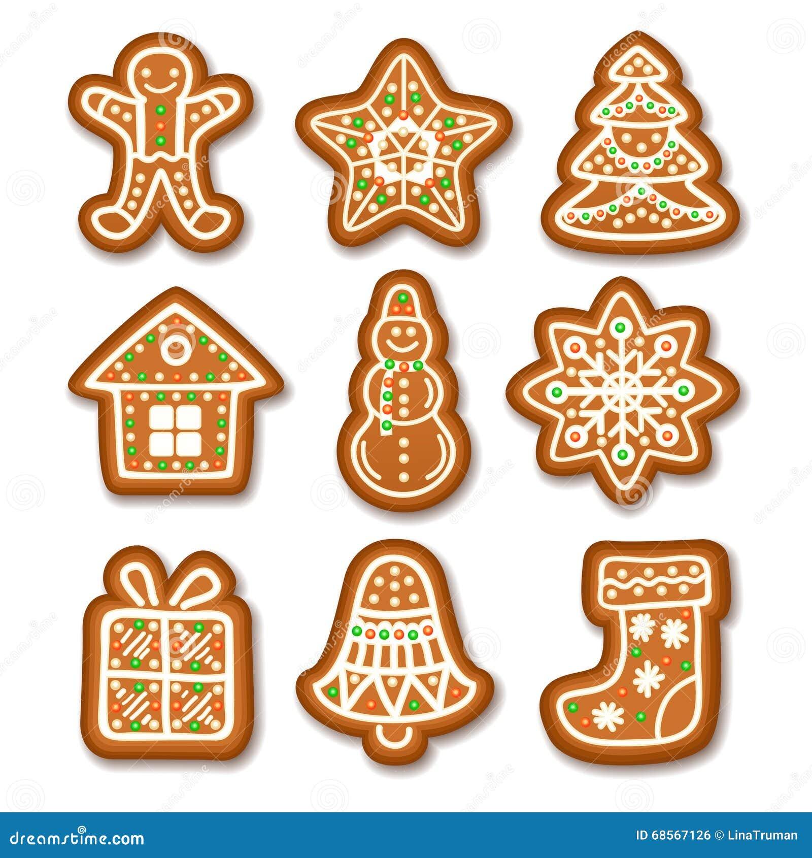 L'ensemble De Biscuits De Noël De Pain D'épice A Décoré Le ...